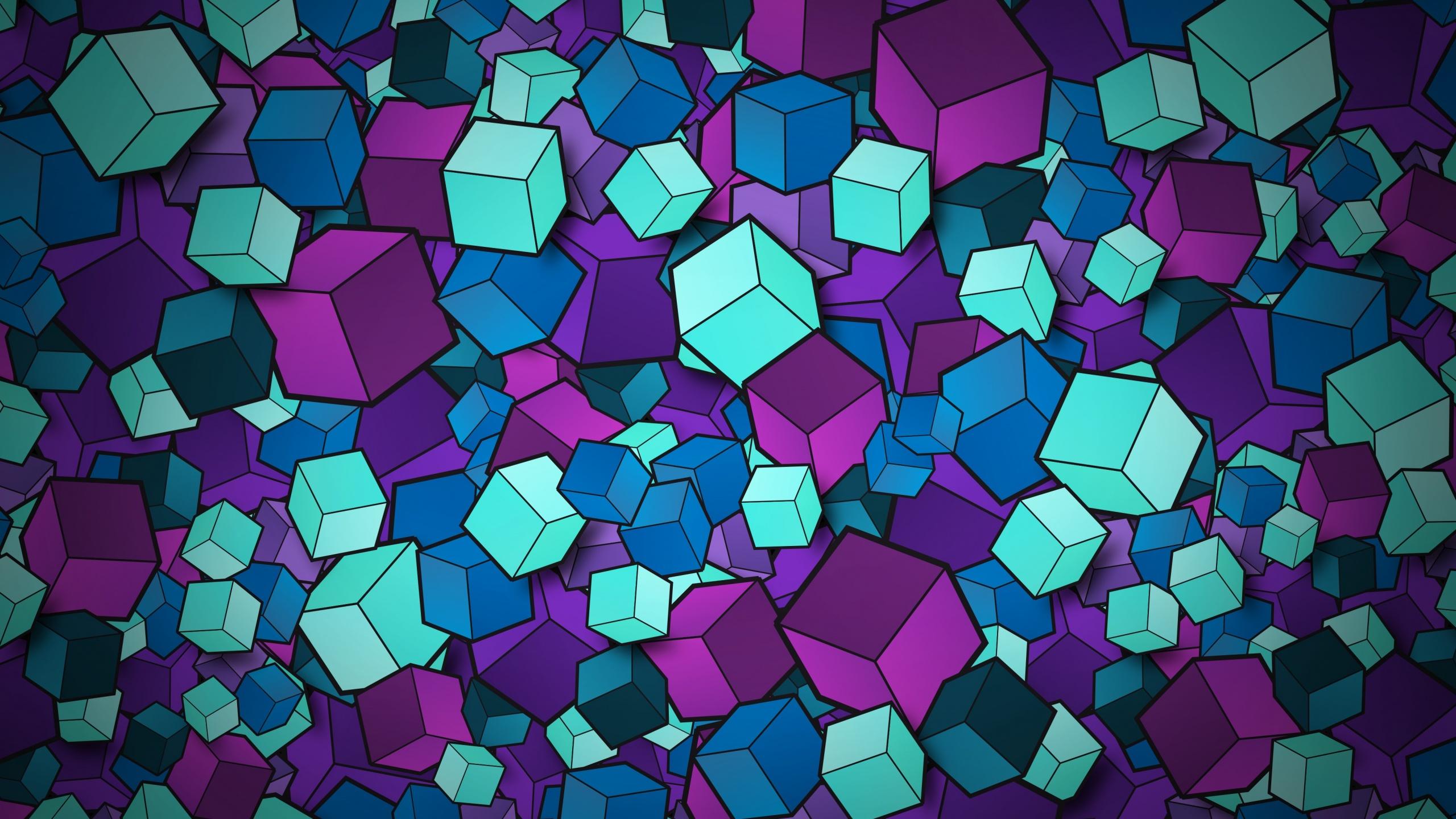 3D cubes 4K Wallpaper Colorful Geometric Patterns