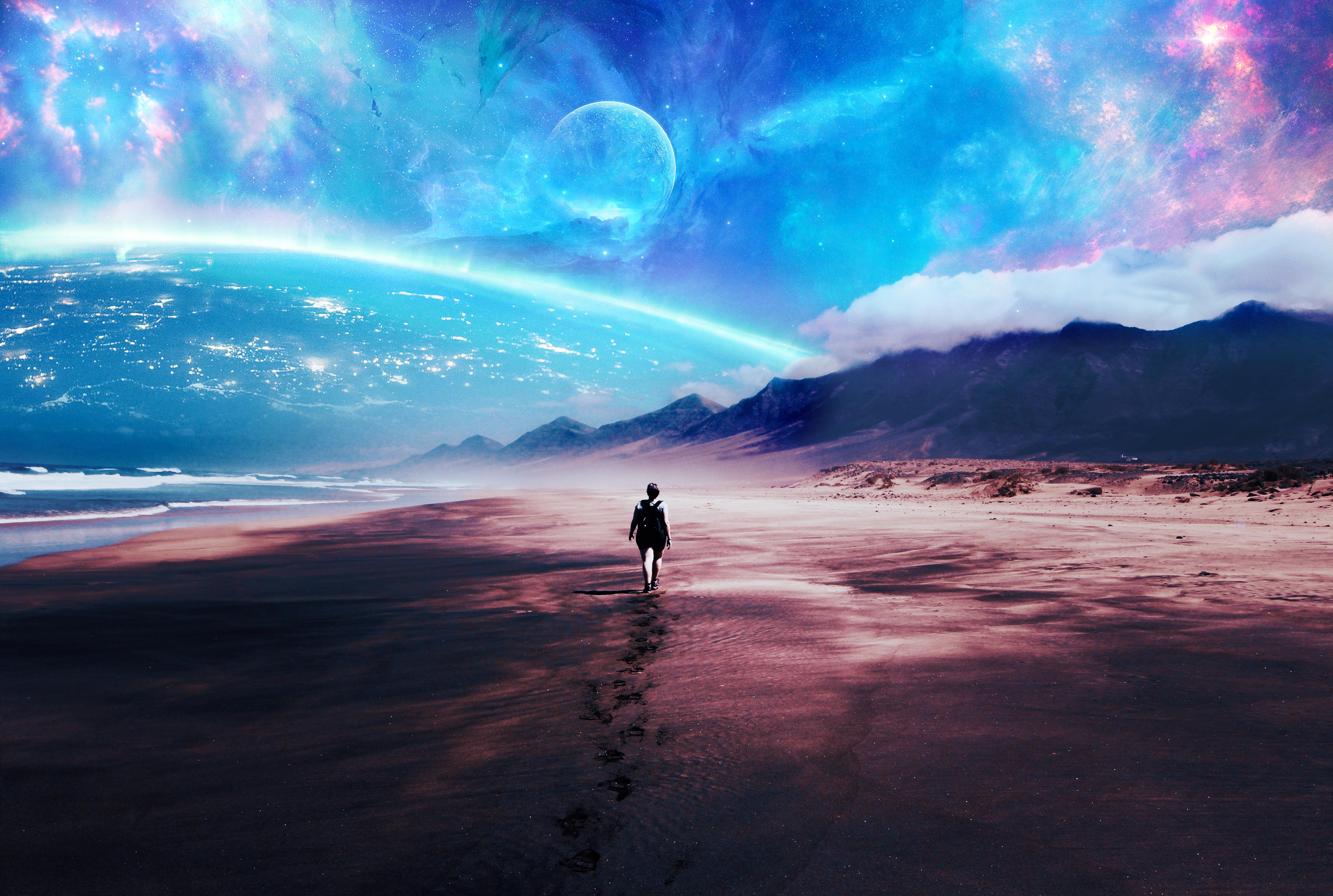 Alone 4k Wallpaper Beach Lost Exploration Travel Surreal Fantasy 1151