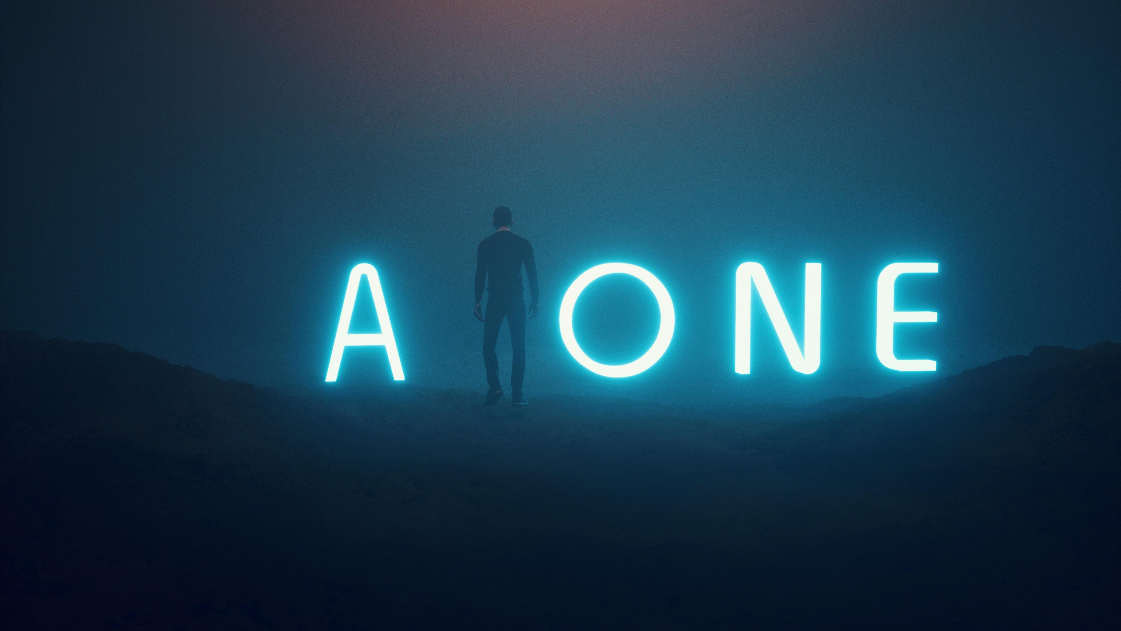 Alone 4k Wallpaper Neon Neon Typography Dark Fantasy 1077