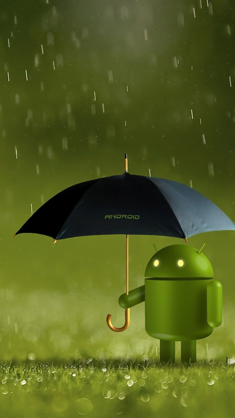 Android logo 4K Wallpaper Android robot Umbrella Rain