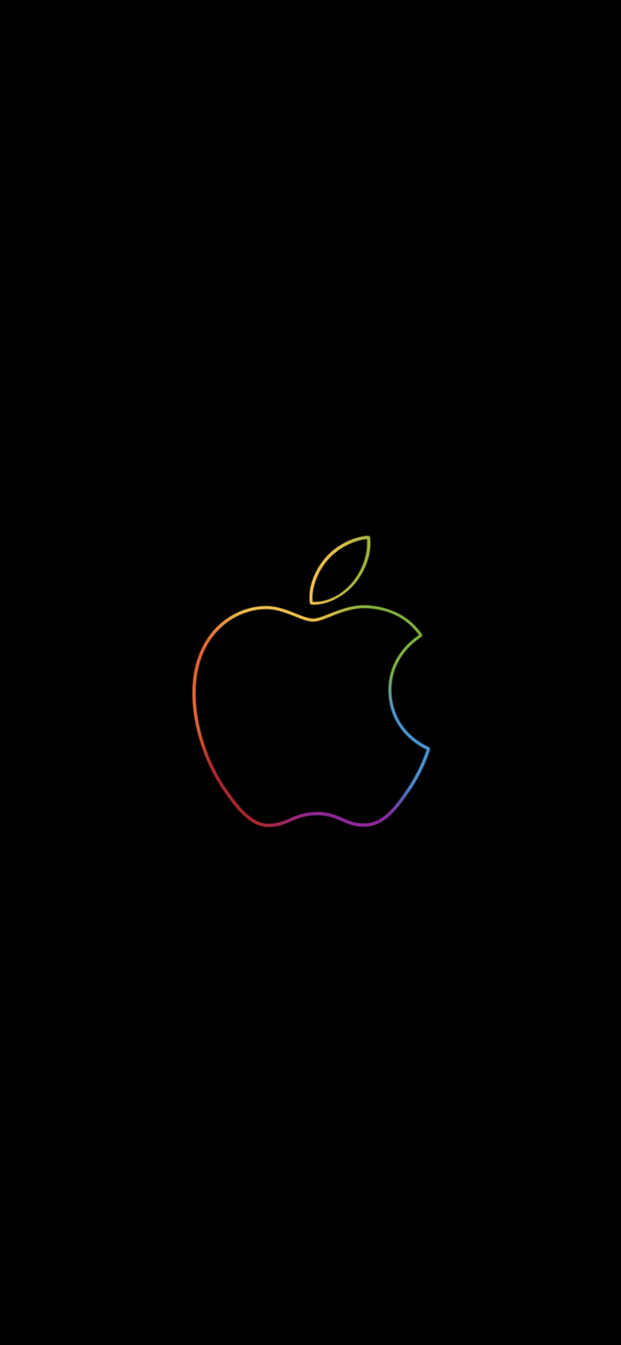 Apple Logo 4k Wallpaper Colorful Outline Black Background Ipad Hd Technology 789