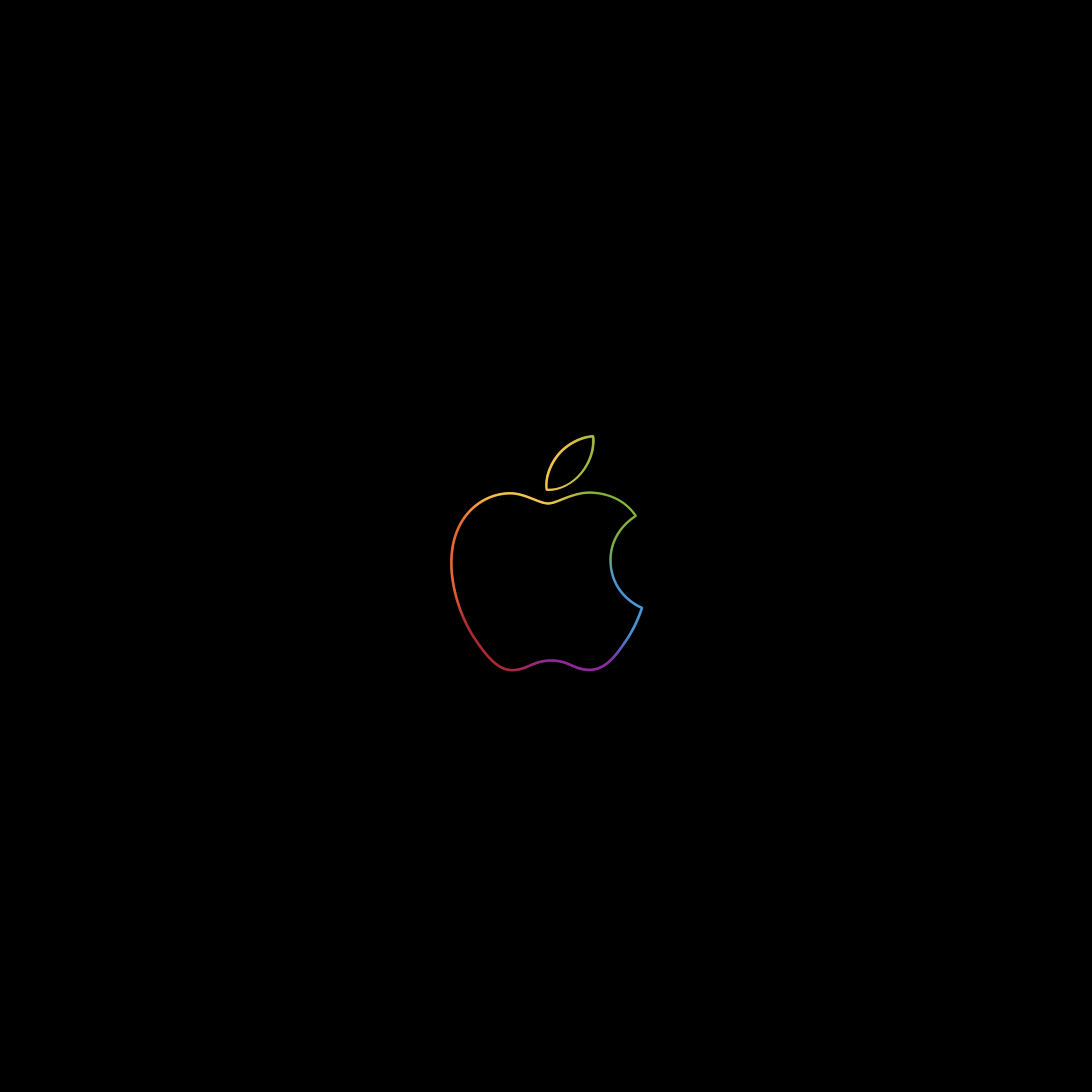 Apple Logo 4k Wallpaper Colorful Outline Black Background Ipad Hd Technology 789