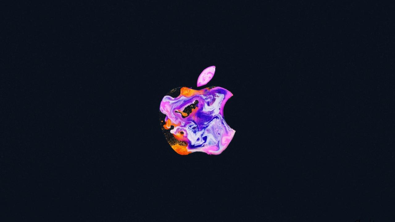 Apple logo 4K Wallpaper, iPhone 12, Liquid art, Black ...