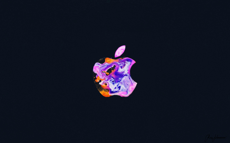Apple Logo 4k Wallpaper Iphone 12 Liquid Art Black Background Technology 1430