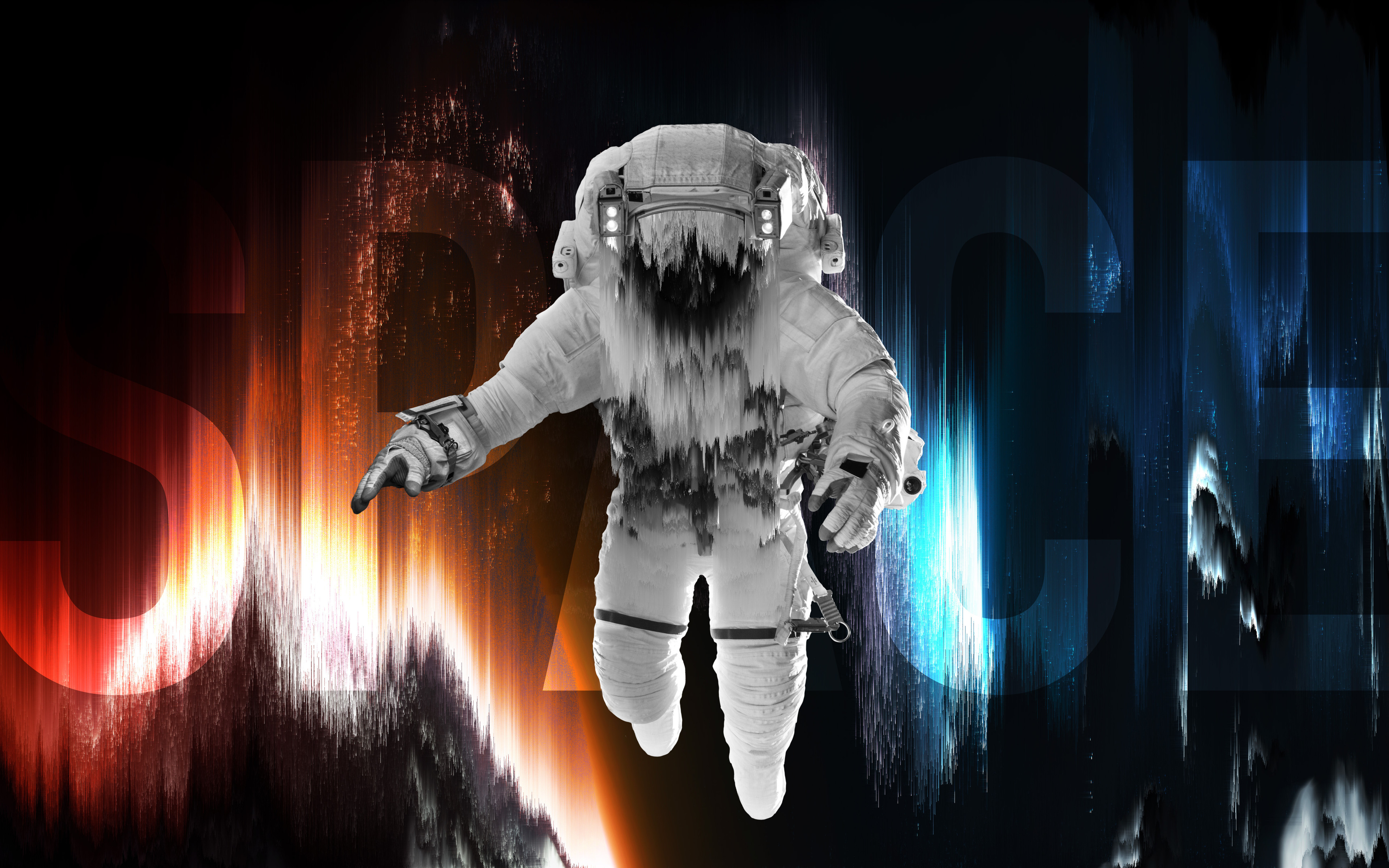 Astronaut 4k Wallpaper Fade Space Artwork Blue Red Space Suit Space 2479