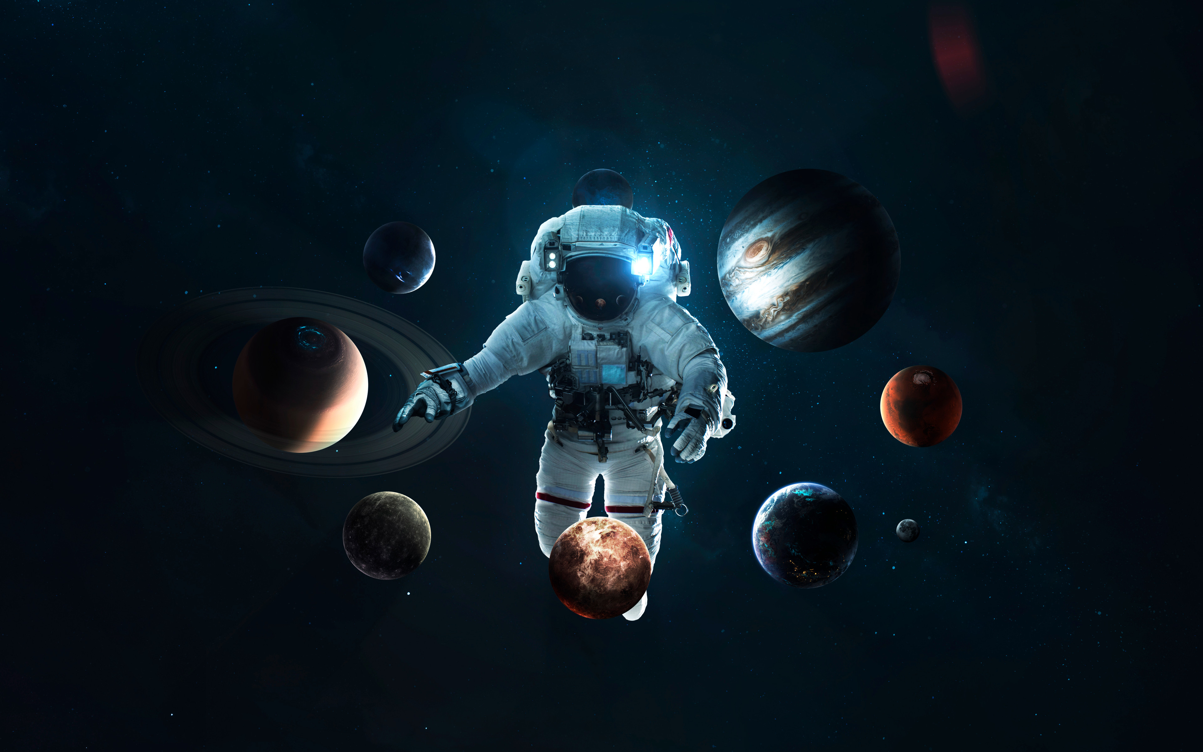 Astronaut 4k Wallpaper Planetary System Space Suit Space Travel Stars Orbital Ring Space 2465
