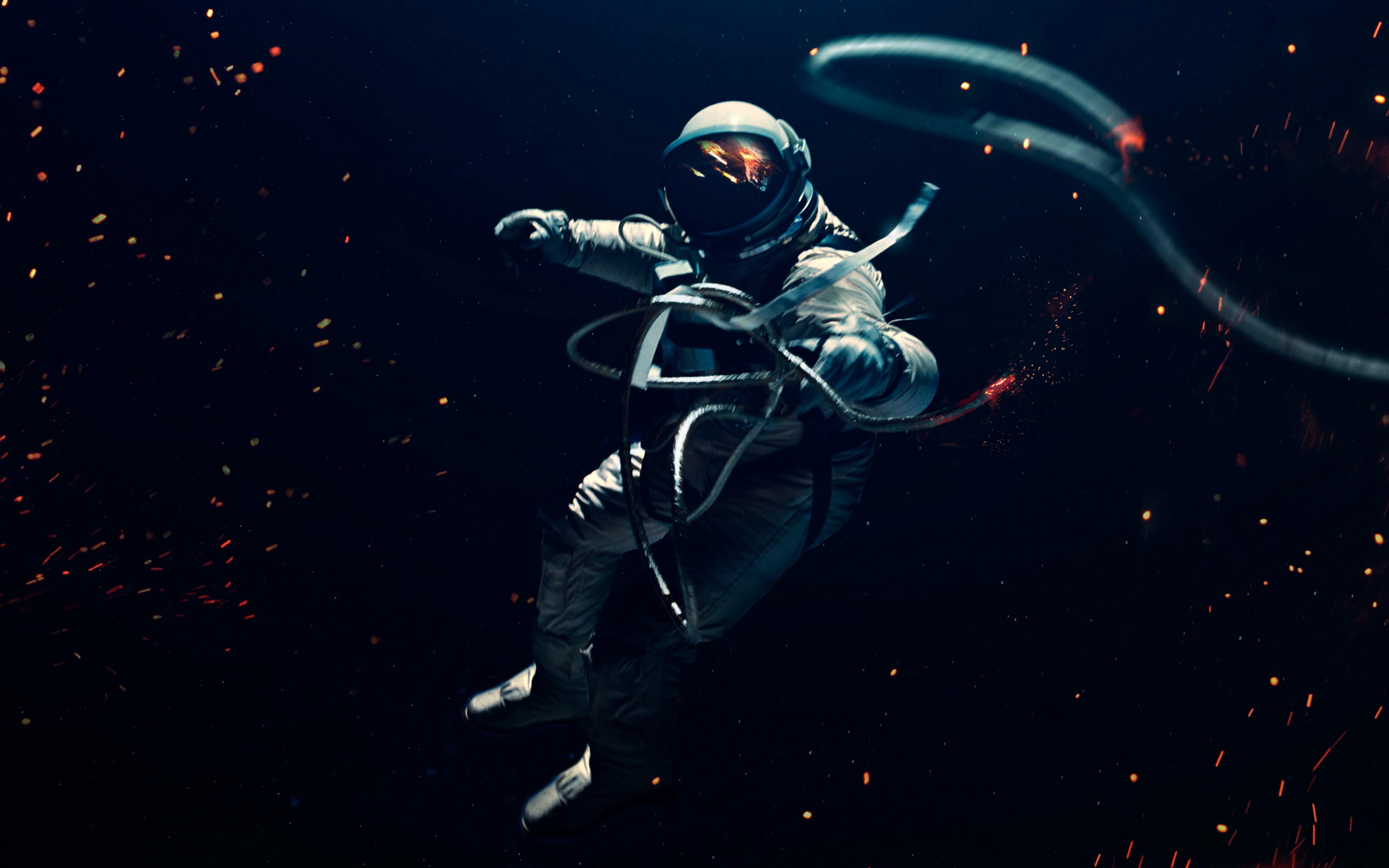 Astronaut 4k Wallpaper Space Suit Dark Background Lost In Space Space Adventure Space 2460
