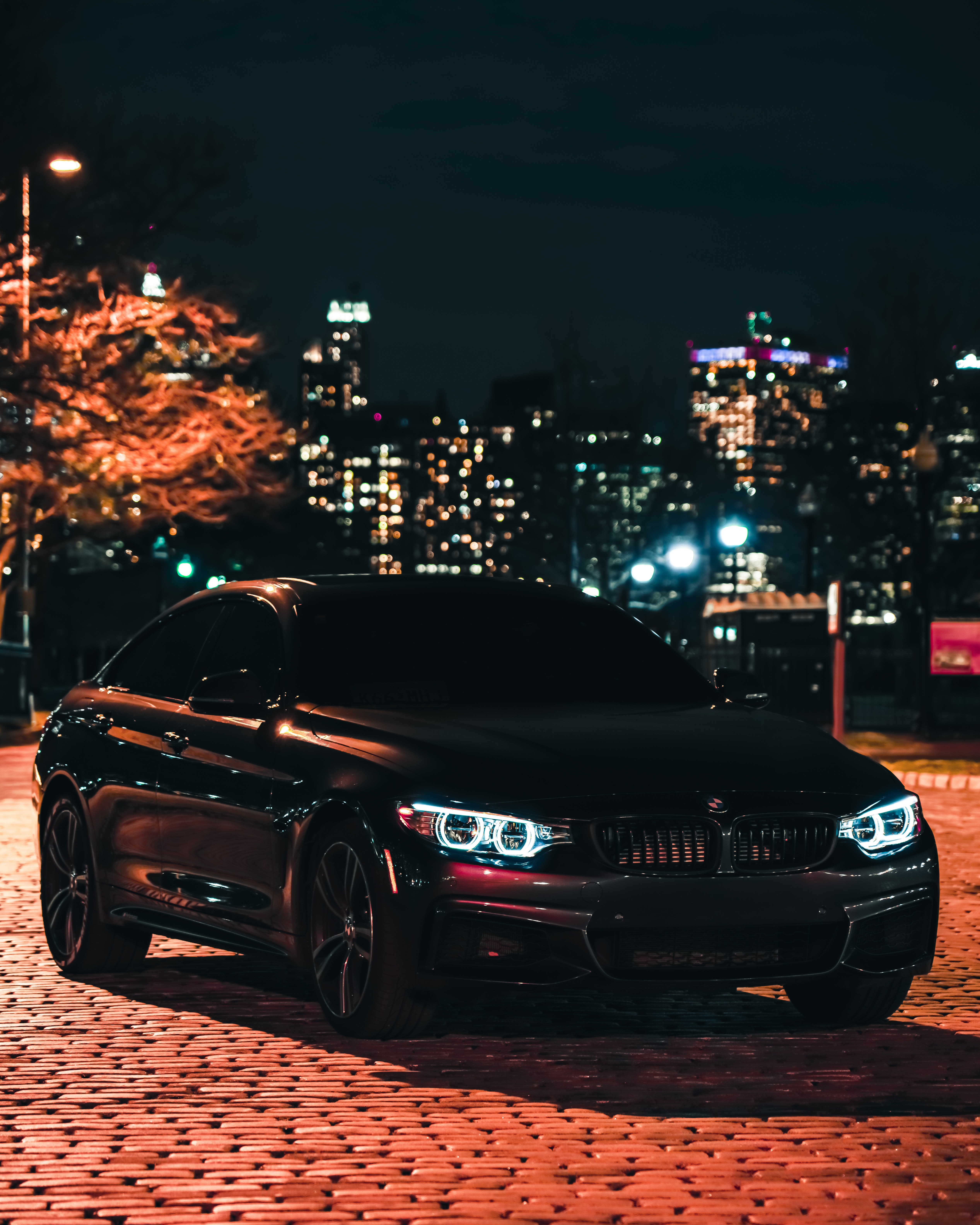 BMW M3 4K Wallpaper, Black Edition, Night, City Lights, 5K