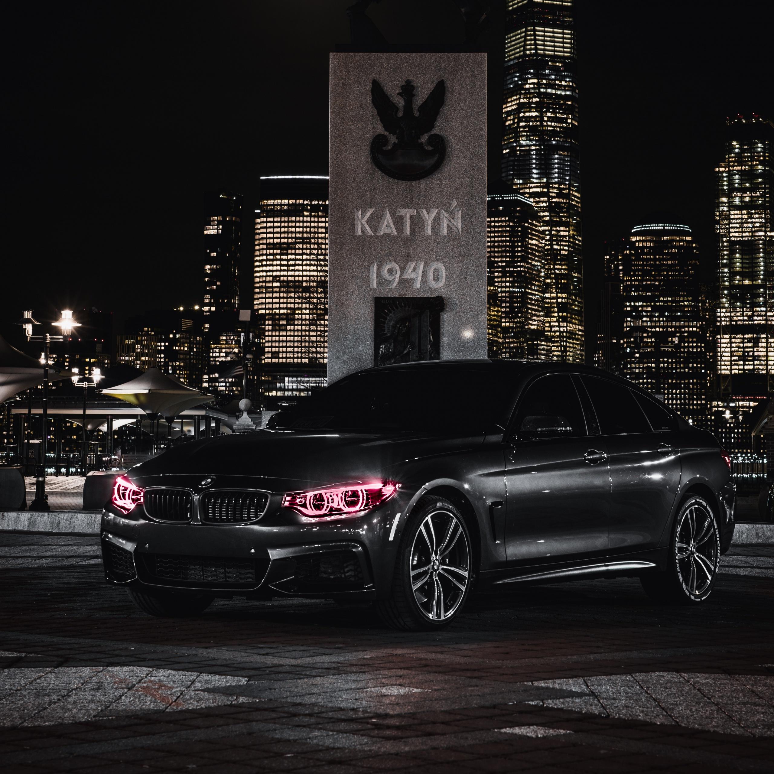 4K Wallpaper BMW M4, Black Edition, Angel Eyes, Night