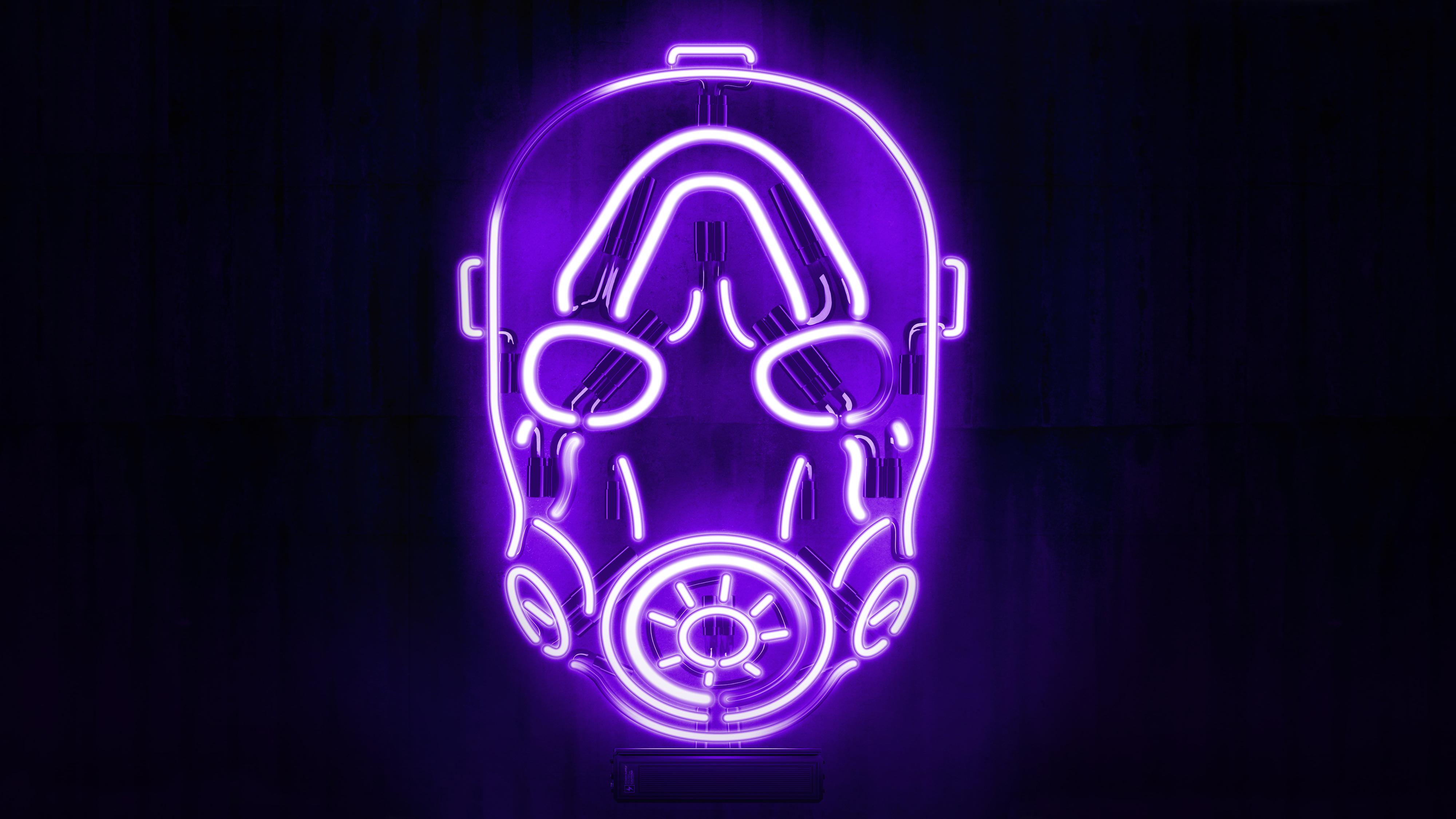 borderlands psycho mask neon black background 4000x2250 492