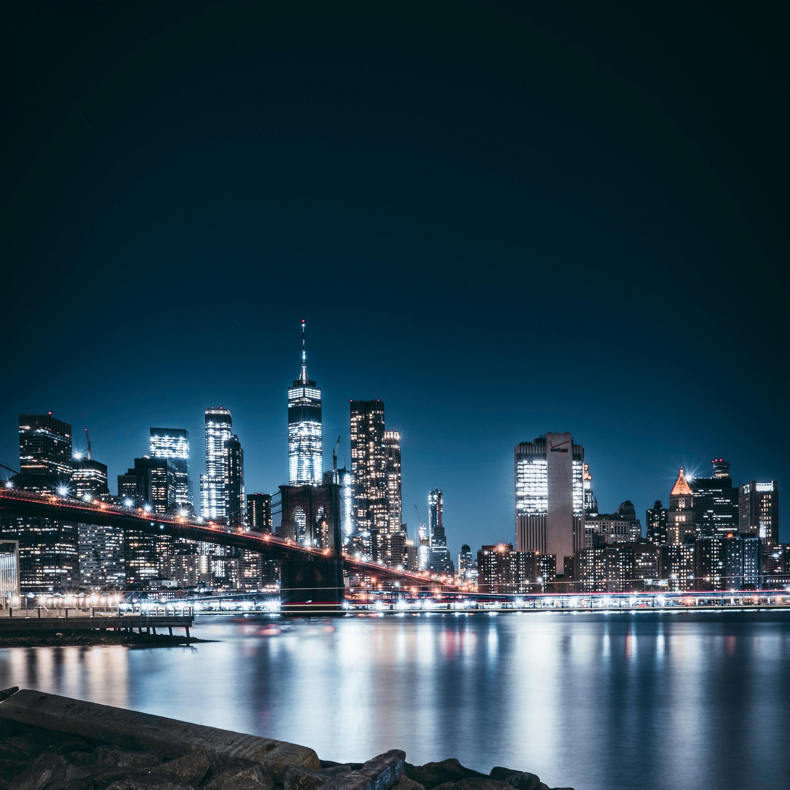 4K Wallpaper Brooklyn Bridge, Night, City Lights