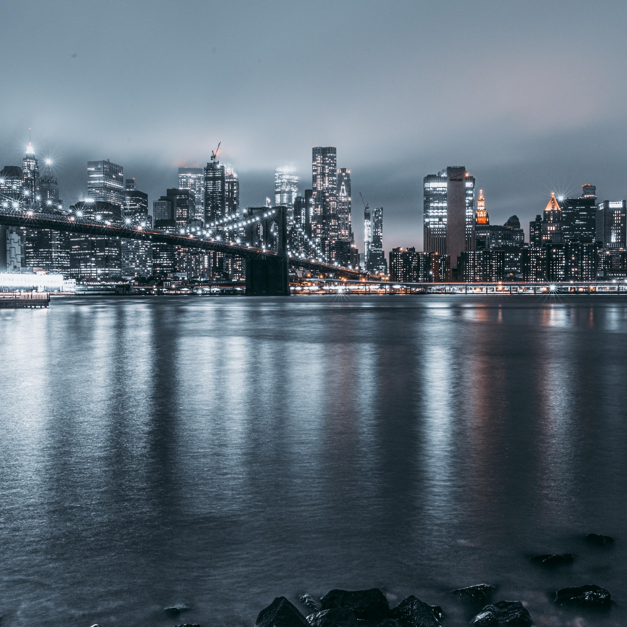 Brooklyn 4K Wallpaper, Cityscape, Night, City Lights, New