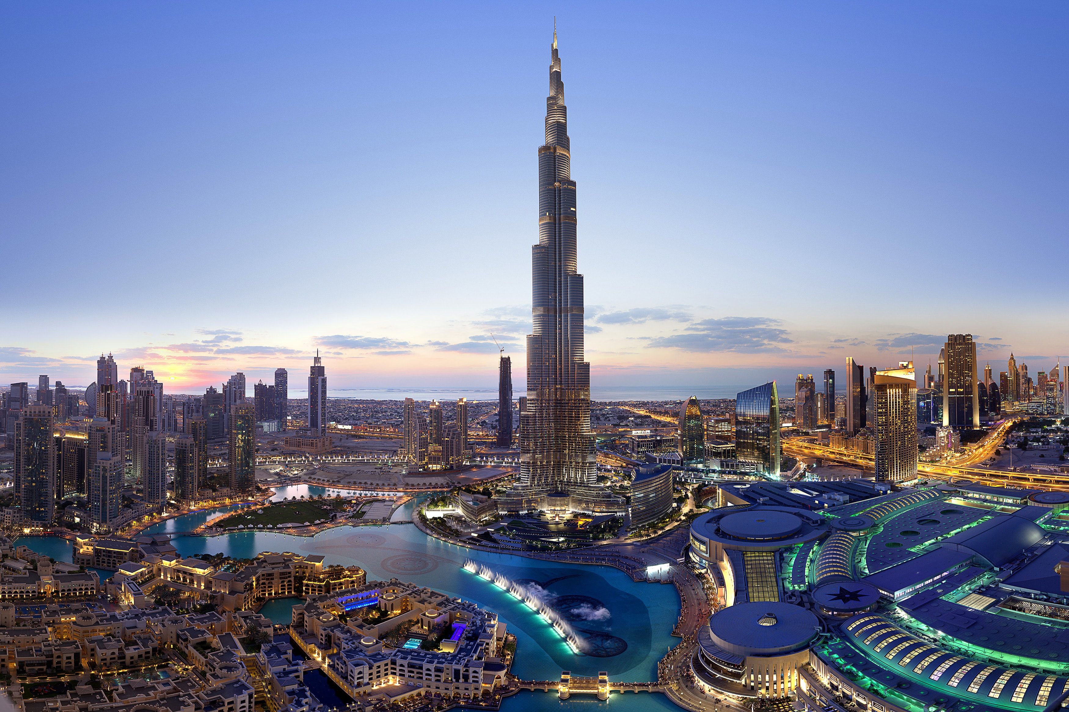 Burj Khalifa 4K Wallpaper, Dubai, Cityscape, Skyscrapers, Dusk, Clearsky,  Sunset, Aerial view, World, #2157