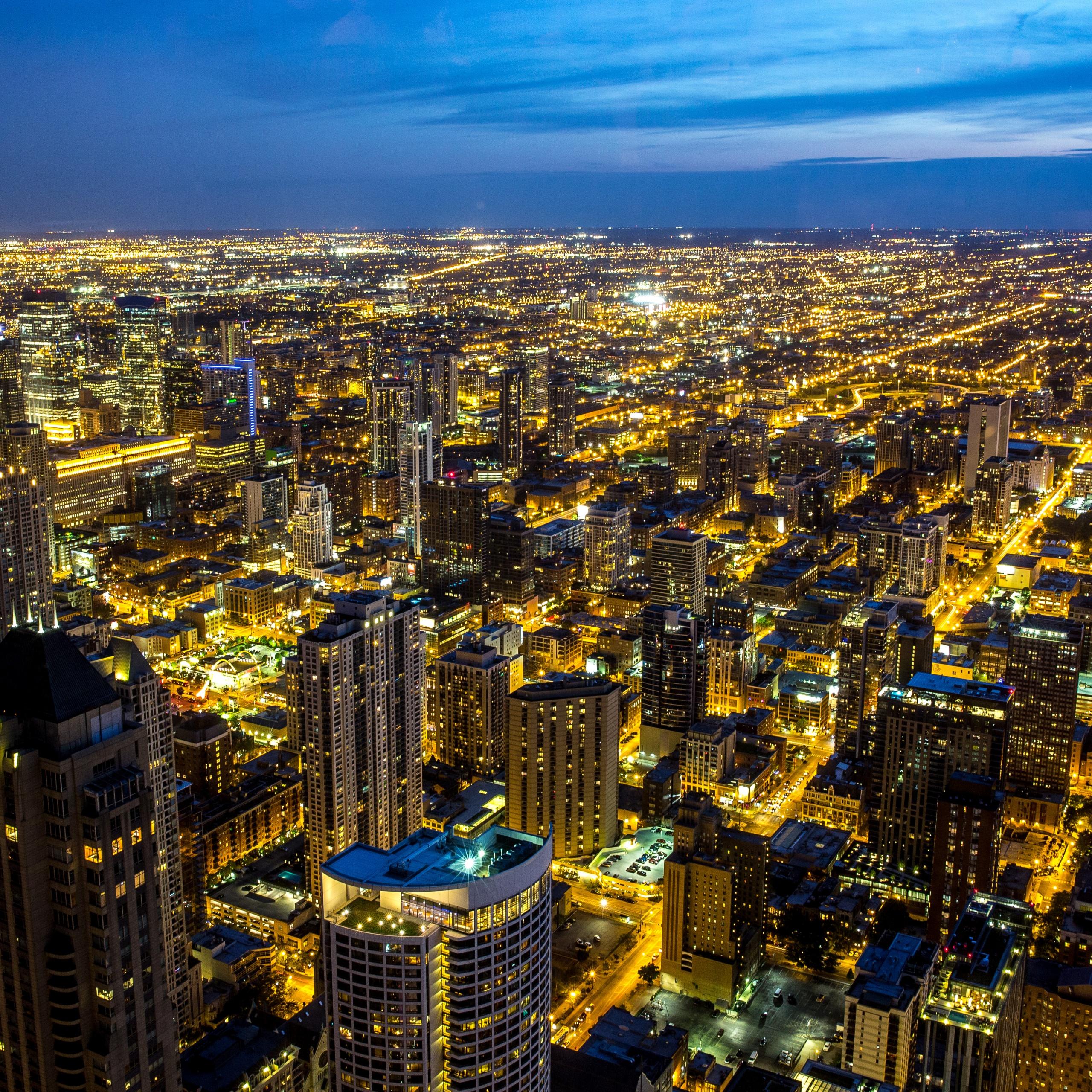 Chicago 4k Wallpaper Illinois City Skyline Night Cityscape Blue Sky Night Lights Photography 2458