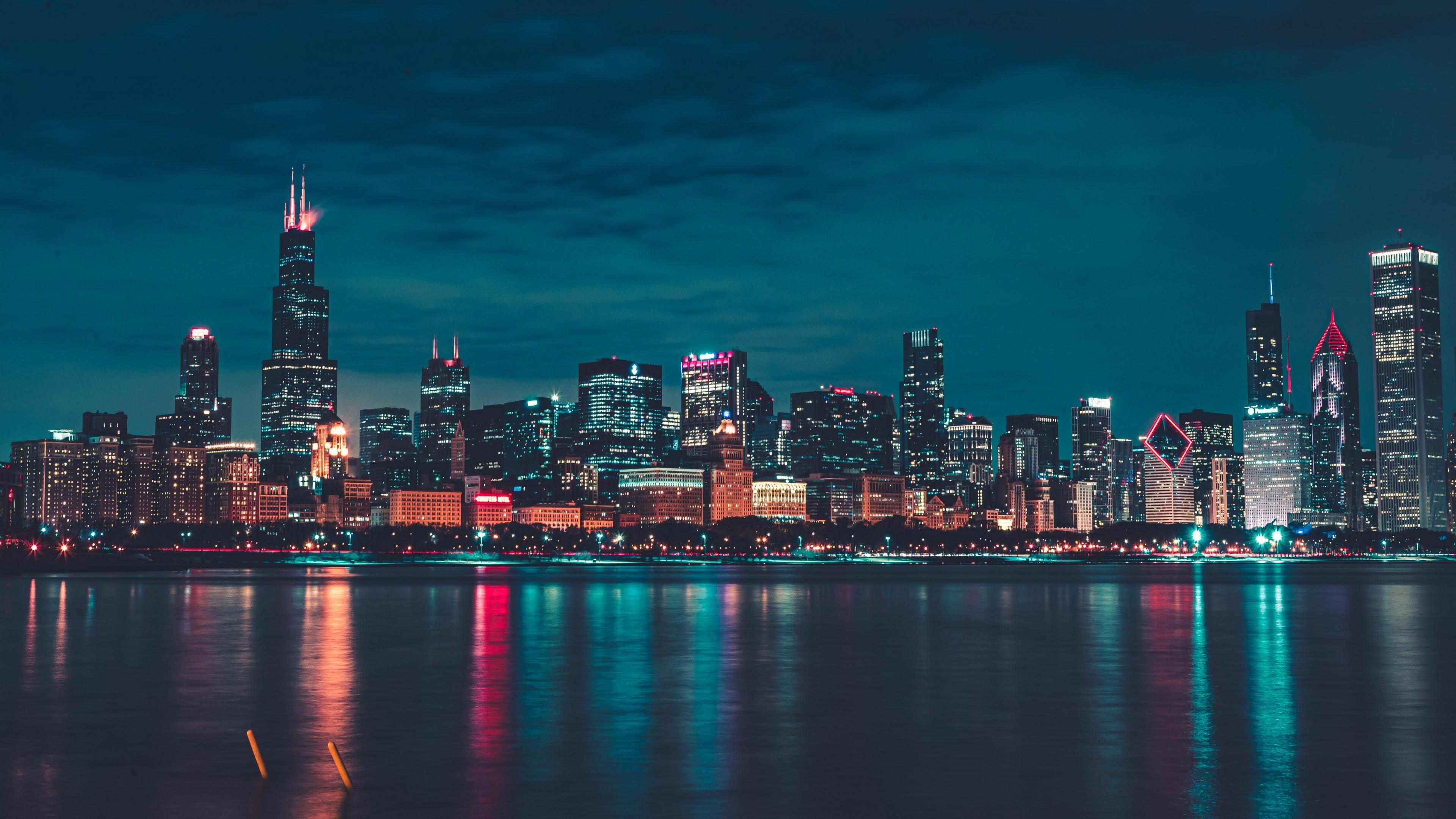 Chicago 4k Wallpaper Night City Lights Cityscape Reflections Skyline 5k World 406