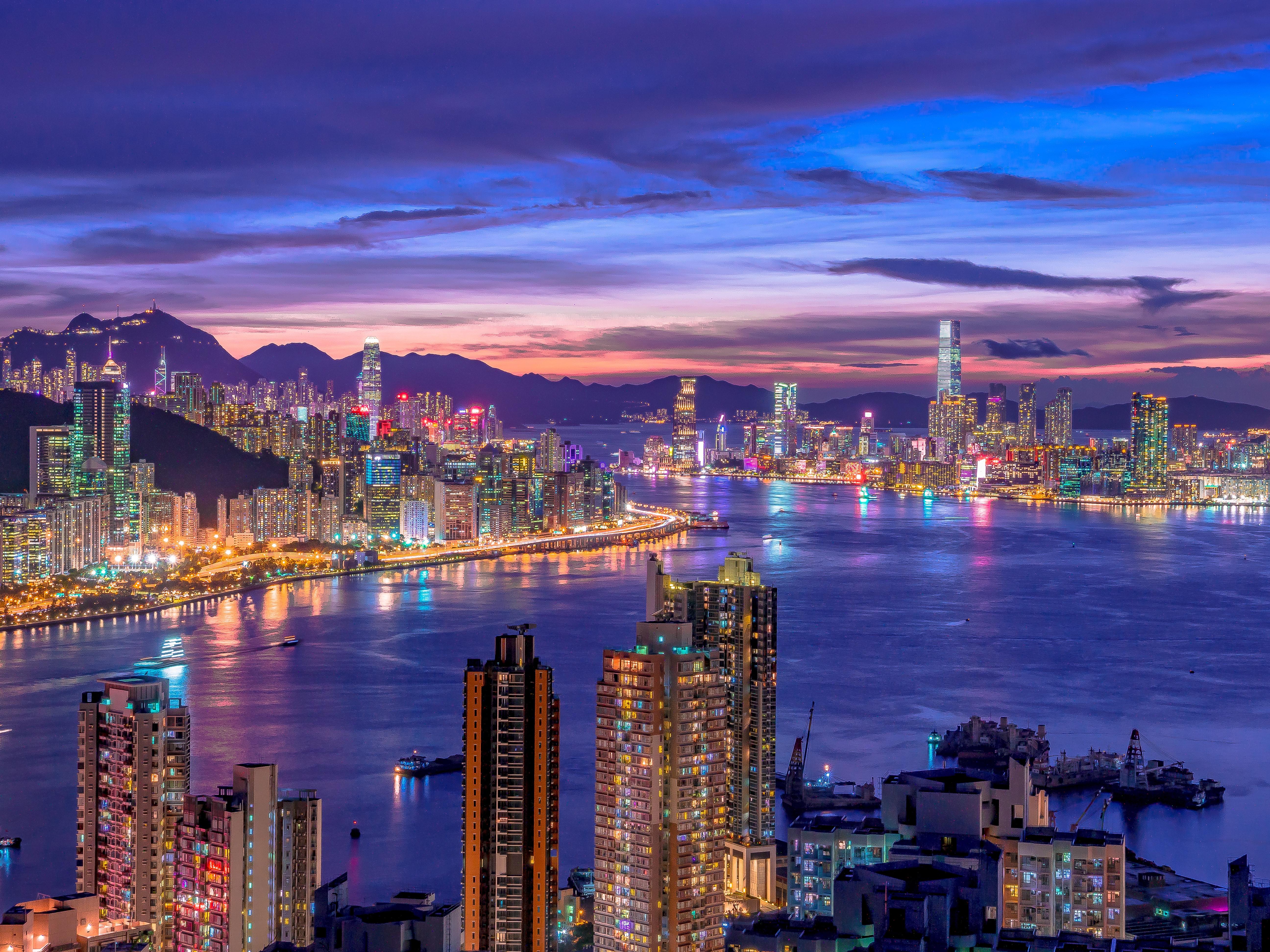 City Skyline 4K Wallpaper, Night life, Cityscape, Hong ...