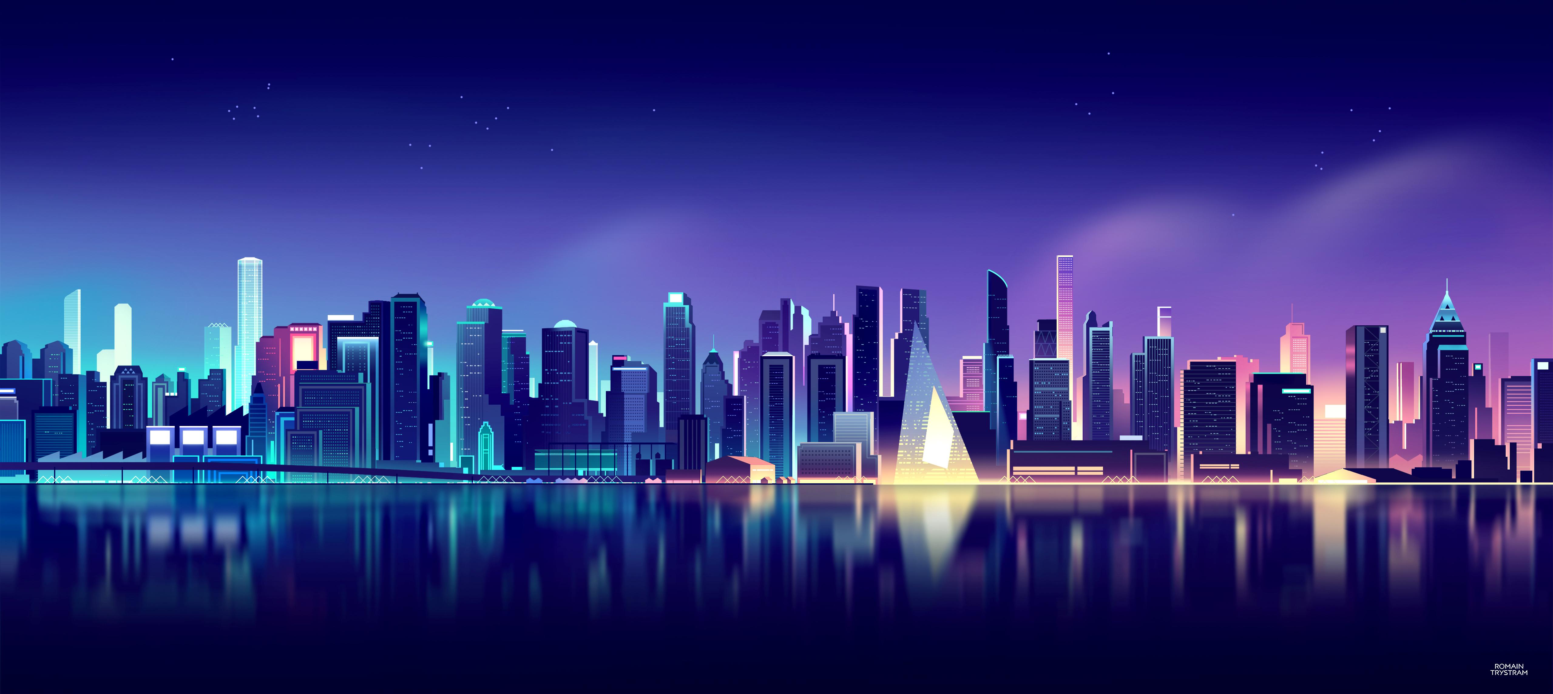 Cityscape Wallpaper 4k Neon Skyline Aesthetic Reflections 5k World 248