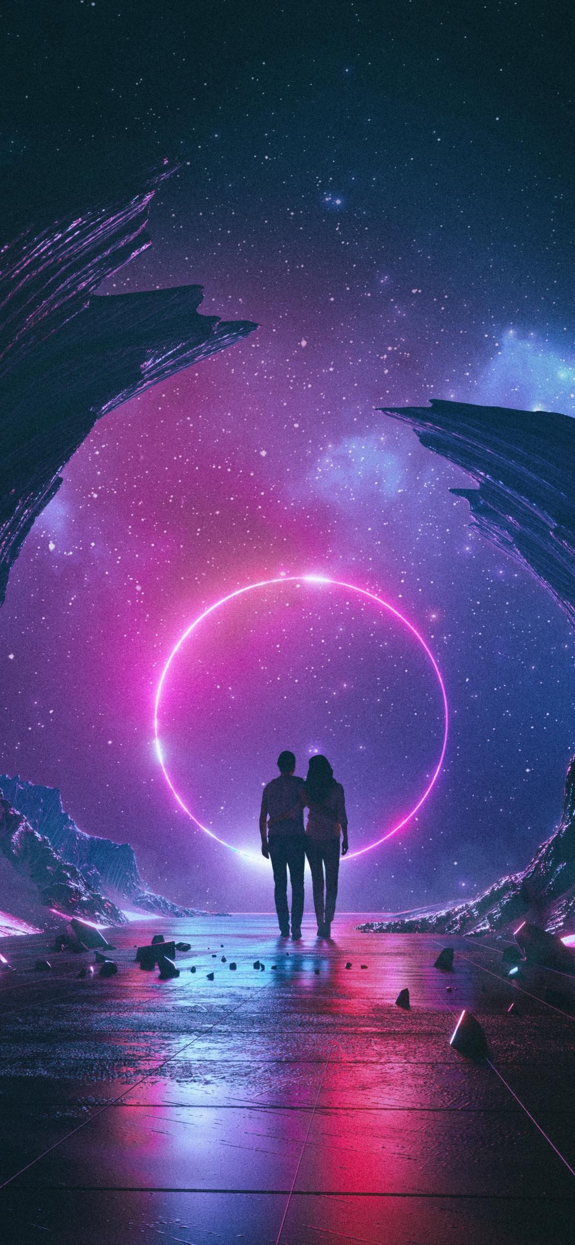 Couple 4K Wallpaper, Dream, Neon, Starry sky, Rocks ...