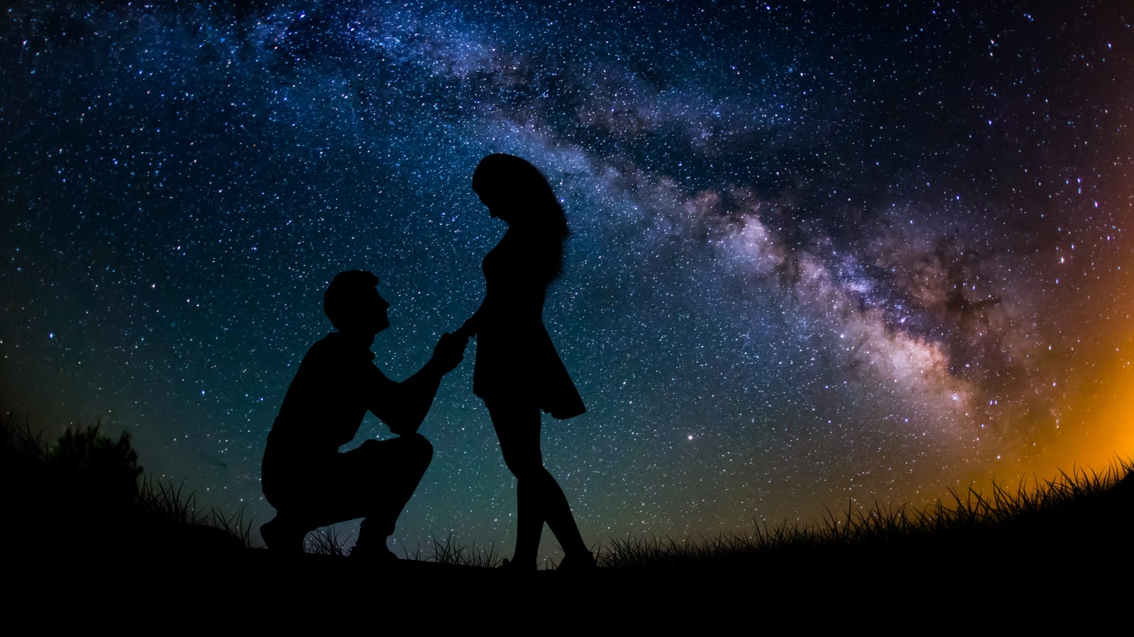Couple 4K Wallpaper, Lovers, Proposal, Silhouette, Starry sky, Romantic, Engagement, Love, #995