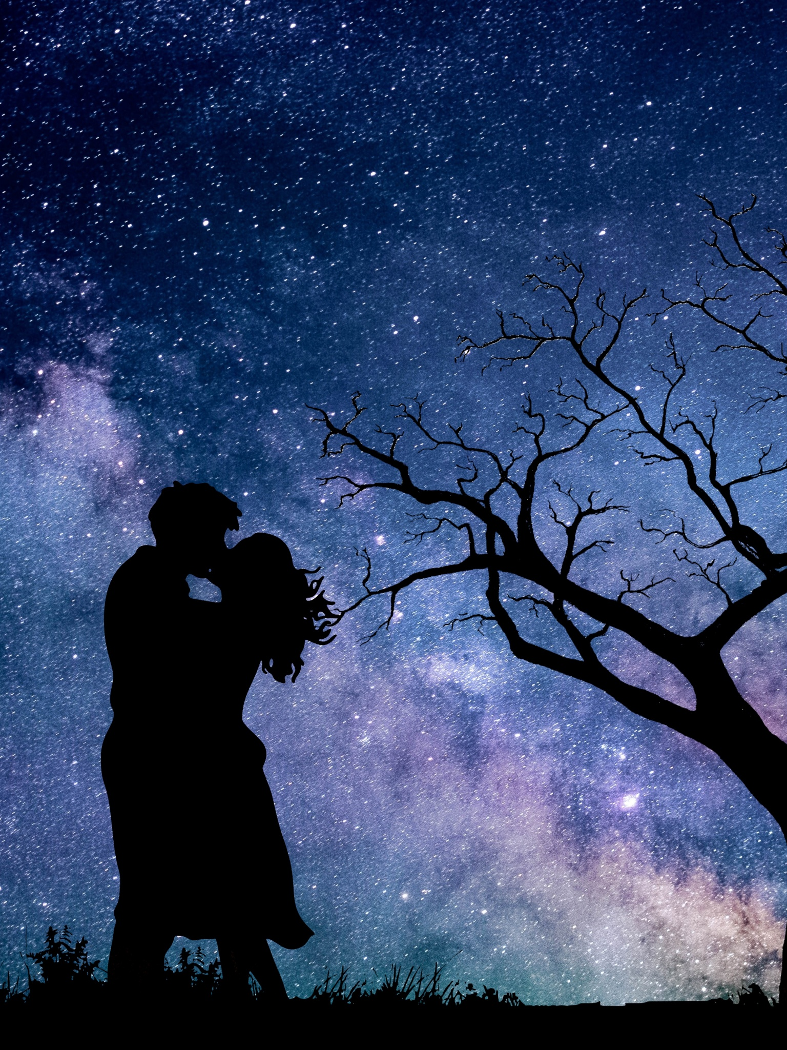 couple starry sky 1671 5k romantic kiss silhouette mobiles tablets resolutions ipad desktop iphone