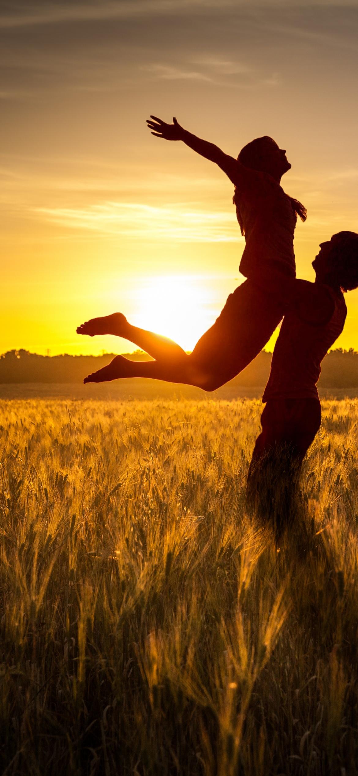 Couple 4K Wallpaper, Silhouette, Sunset, Romantic