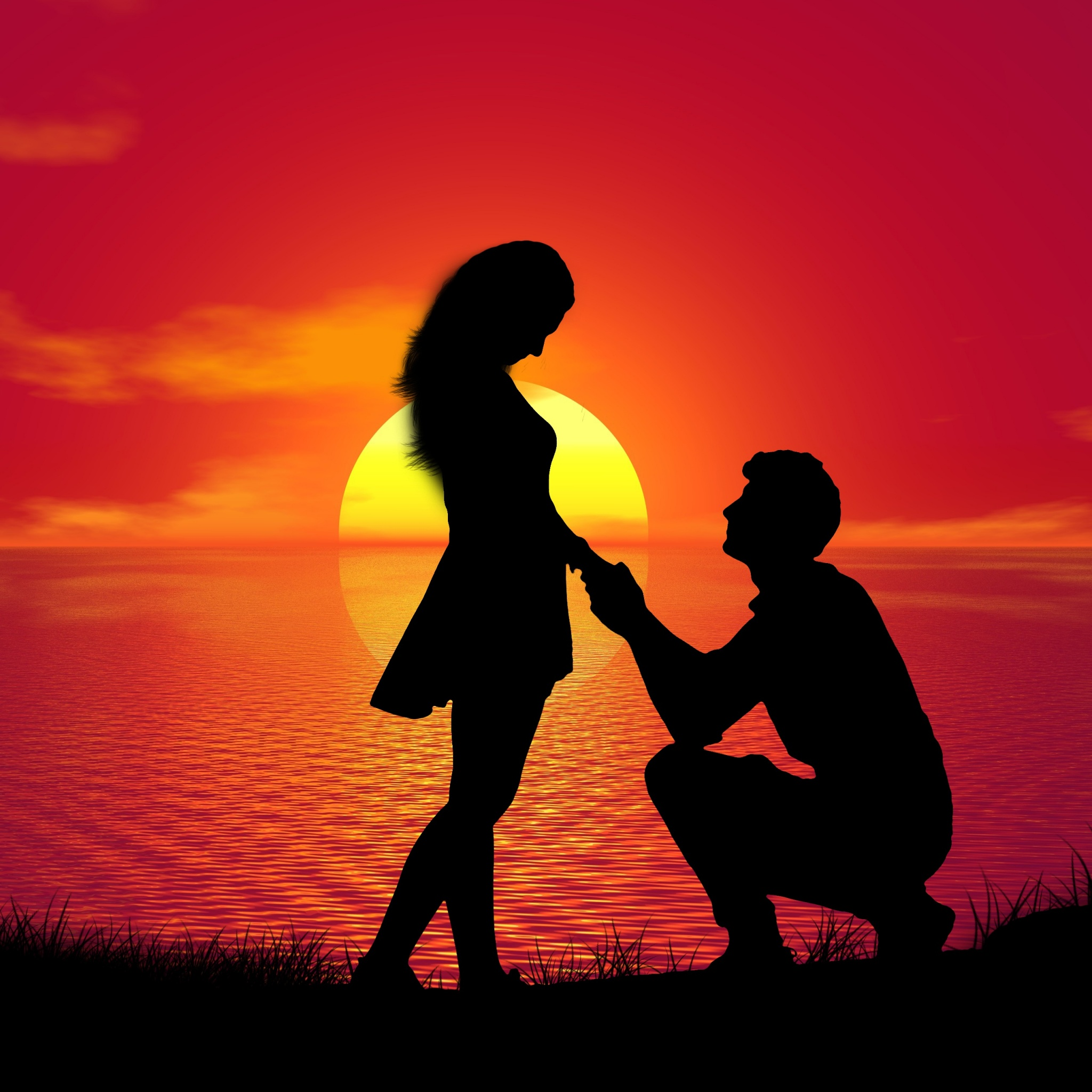 Couple 4K Wallpaper, Sunset, Proposal, Silhouette