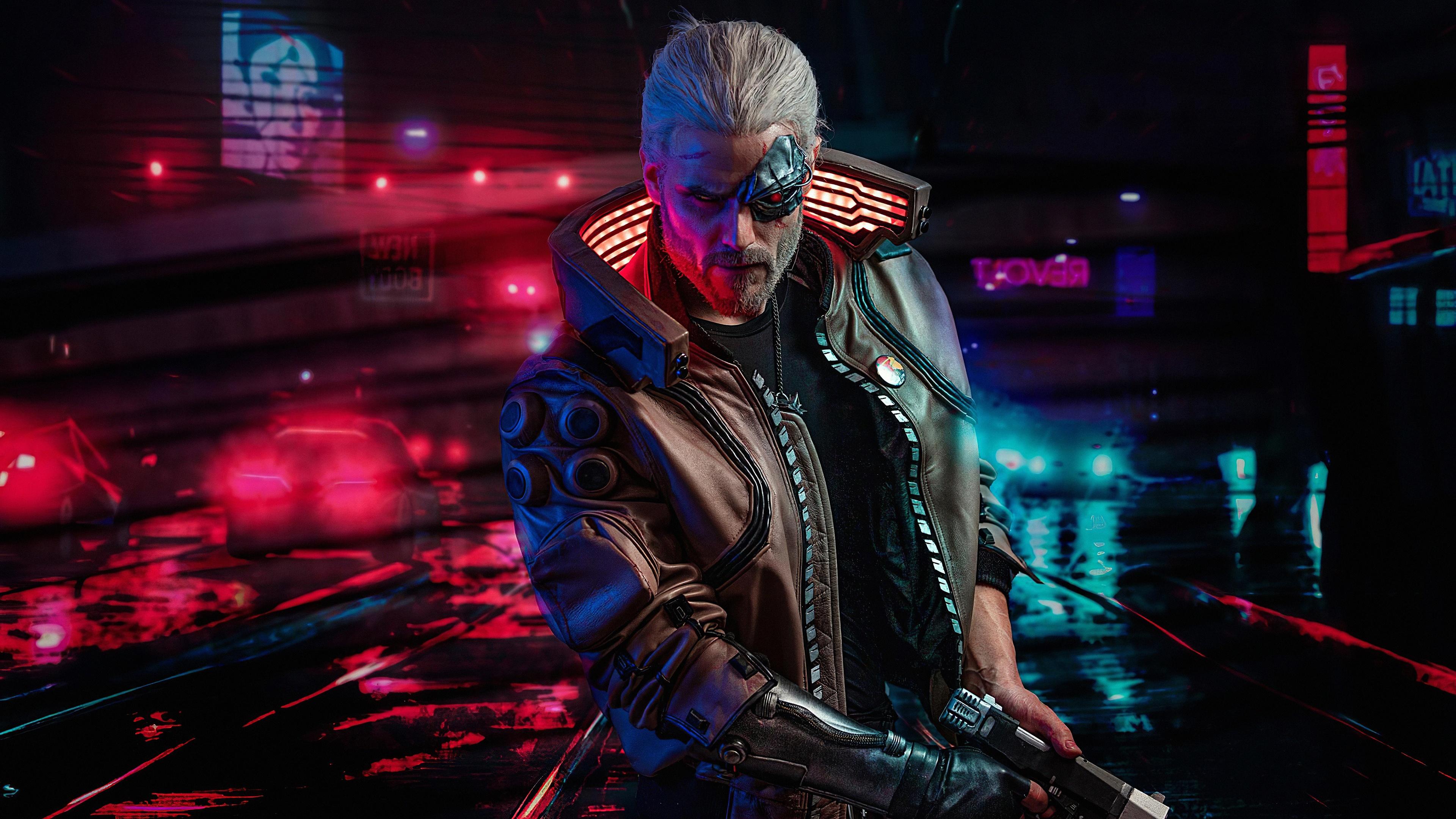 Cyberpunk 2077 4K Wallpaper, Geralt of Rivia, The Witcher, Graphics CGI,  #1583