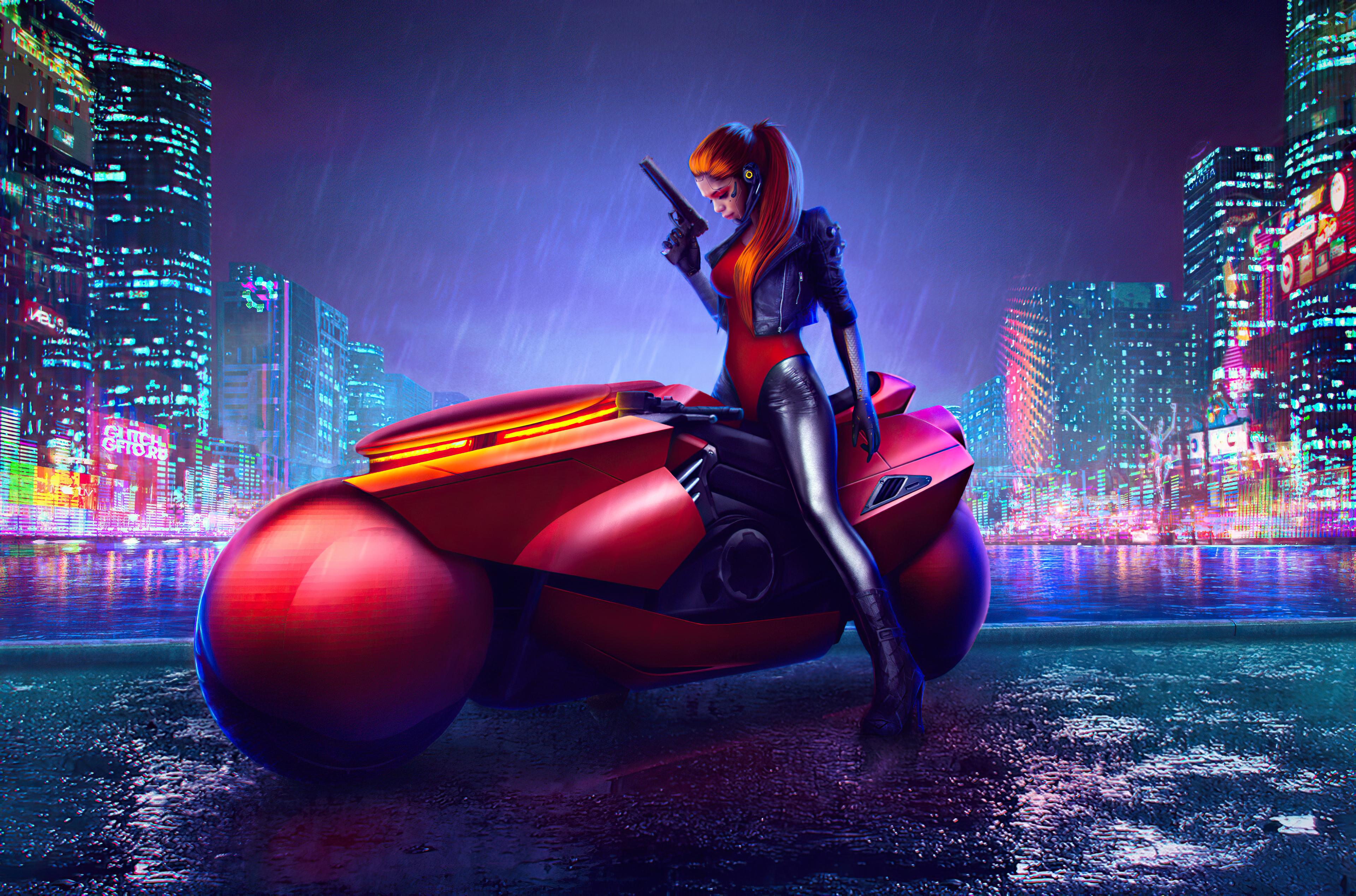 Cyberpunk Girl 4k Wallpaper Cyberpunk Bike Digital Art Graphics Cgi 1478
