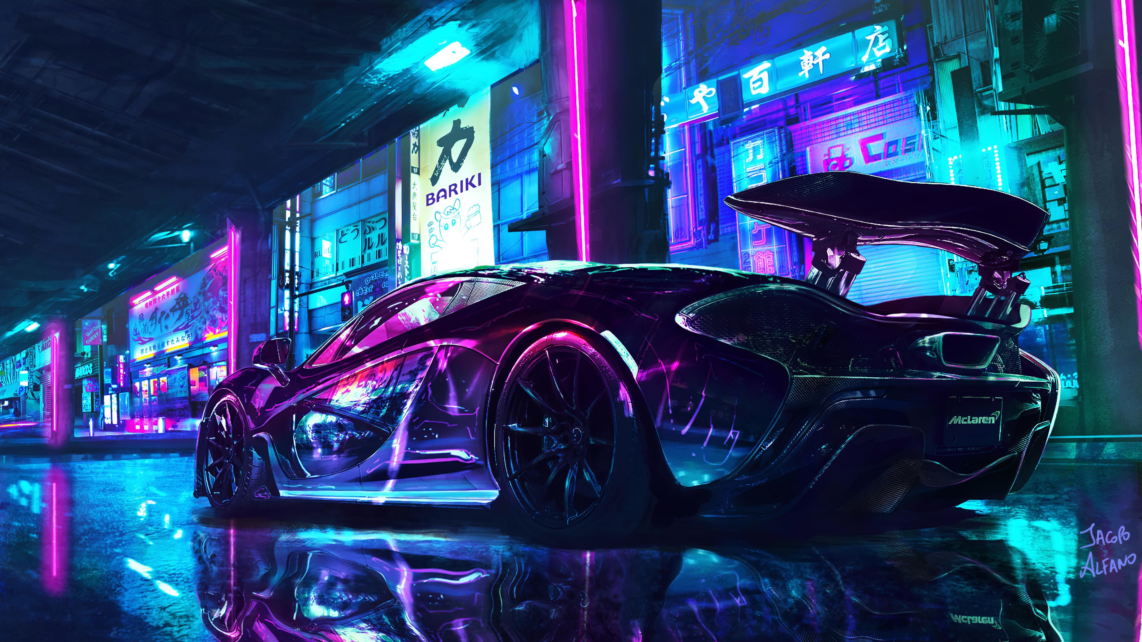 Cyberpunk 4k Wallpaper Mclaren Supercars Neon Art Cars 1003