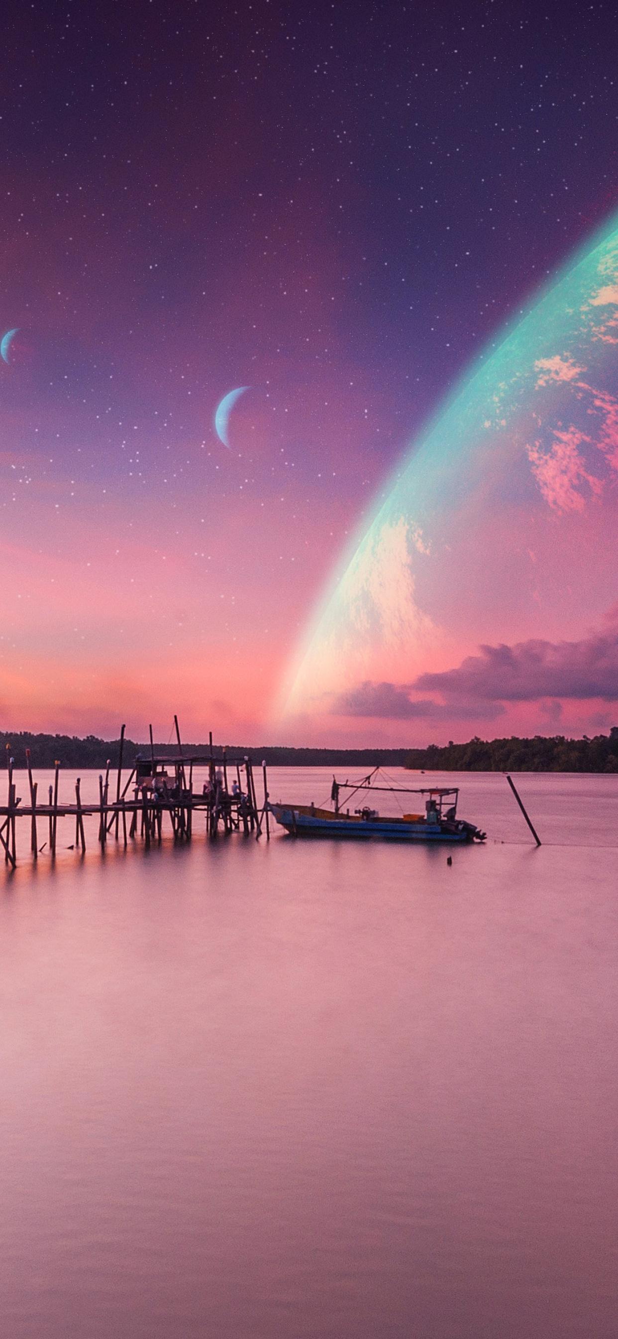 Dawn 4k Wallpaper Landscape Sunset Planets Peaceful Calm Surreal Nature 1153