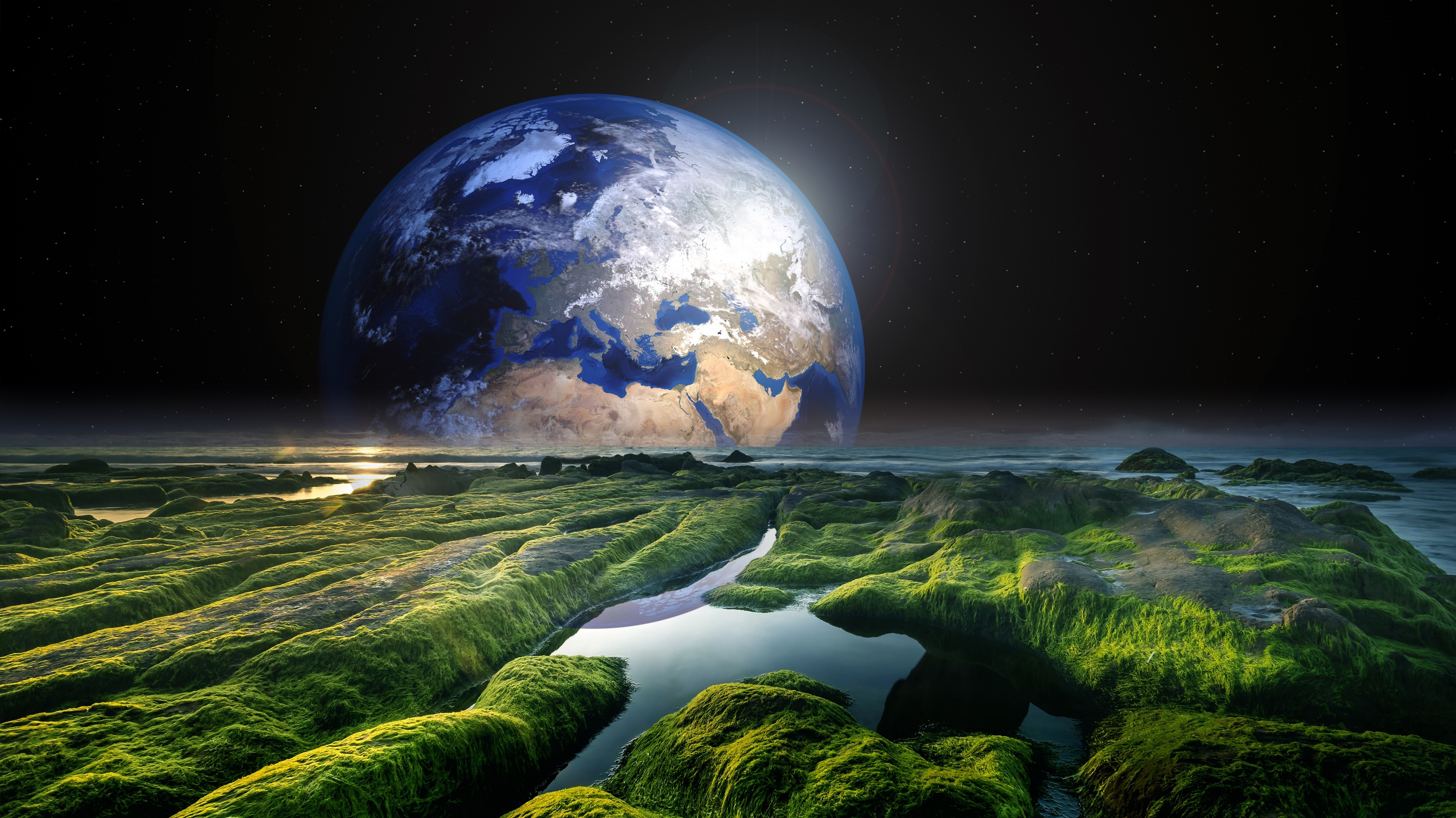 Earth 4k Wallpaper Space Stars Green Solaris Water Sea Space 2051