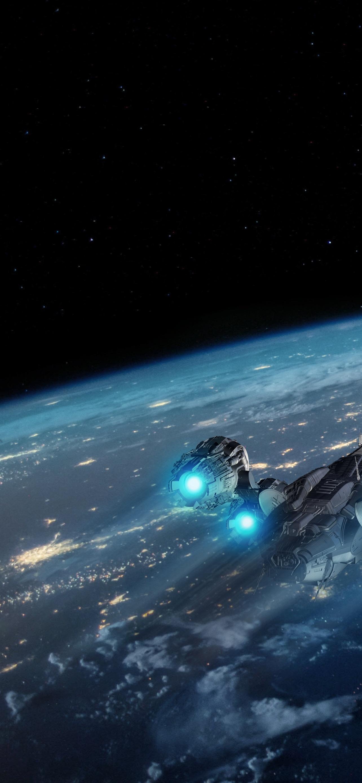 Earth 4K Wallpaper, Spaceship, Night, 5K, Space, #919