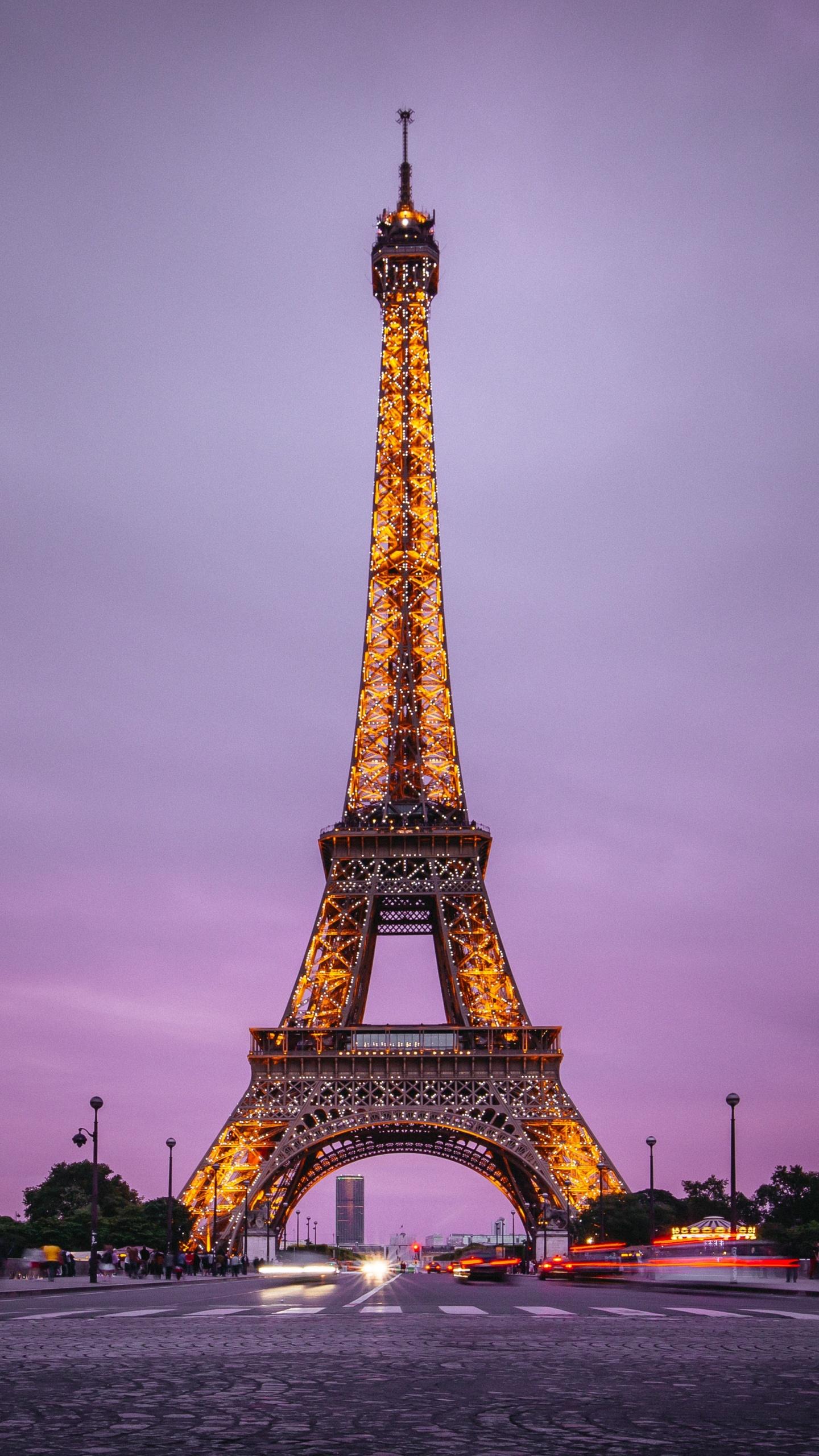 Eiffel Tower 4K Wallpaper Paris France Evening Purple