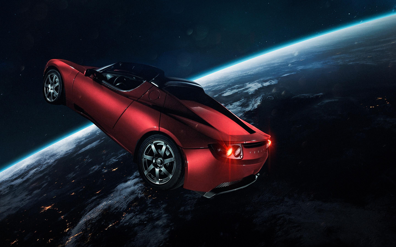 Elon Musk S Tesla Roadster 4k Wallpaper Tesla In Space Red Car Earth Horizon Electric Sports Cars Space 2468