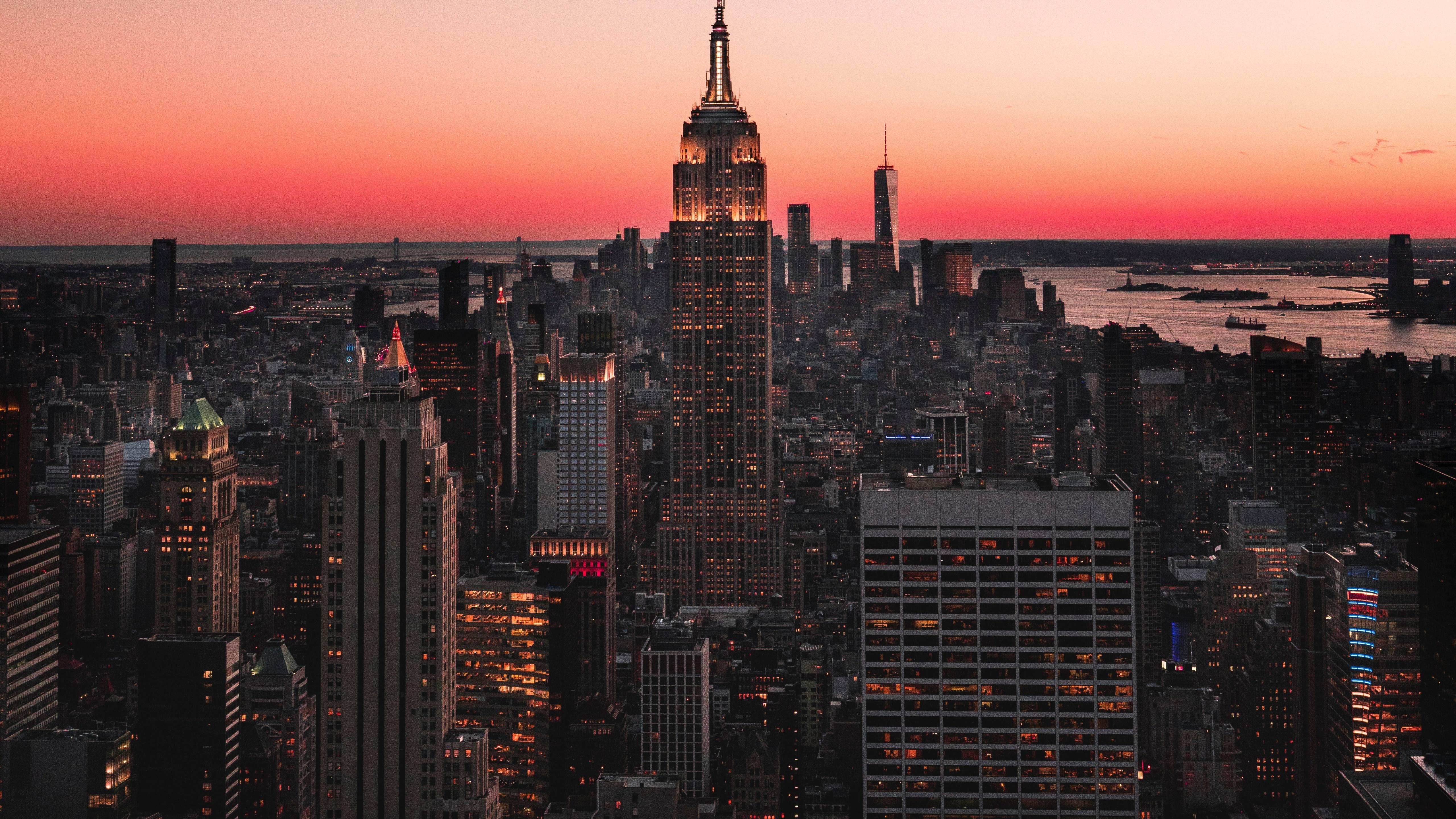 empire state building skyscraper new york city sunset 5120x2880 1706