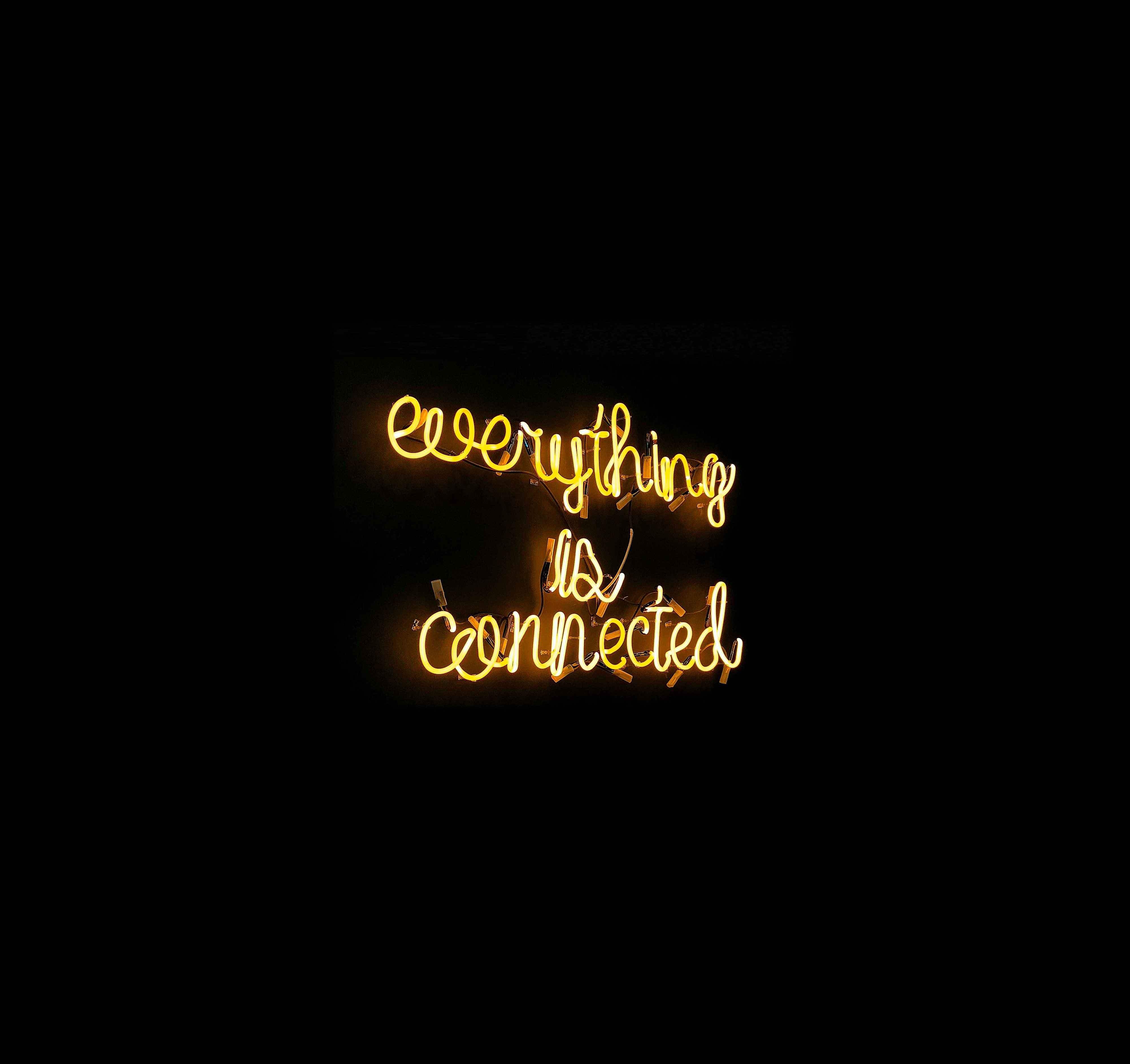 Everything Is Connected 4k Wallpaper Neon Sign Black Background Yellow Black Dark 386