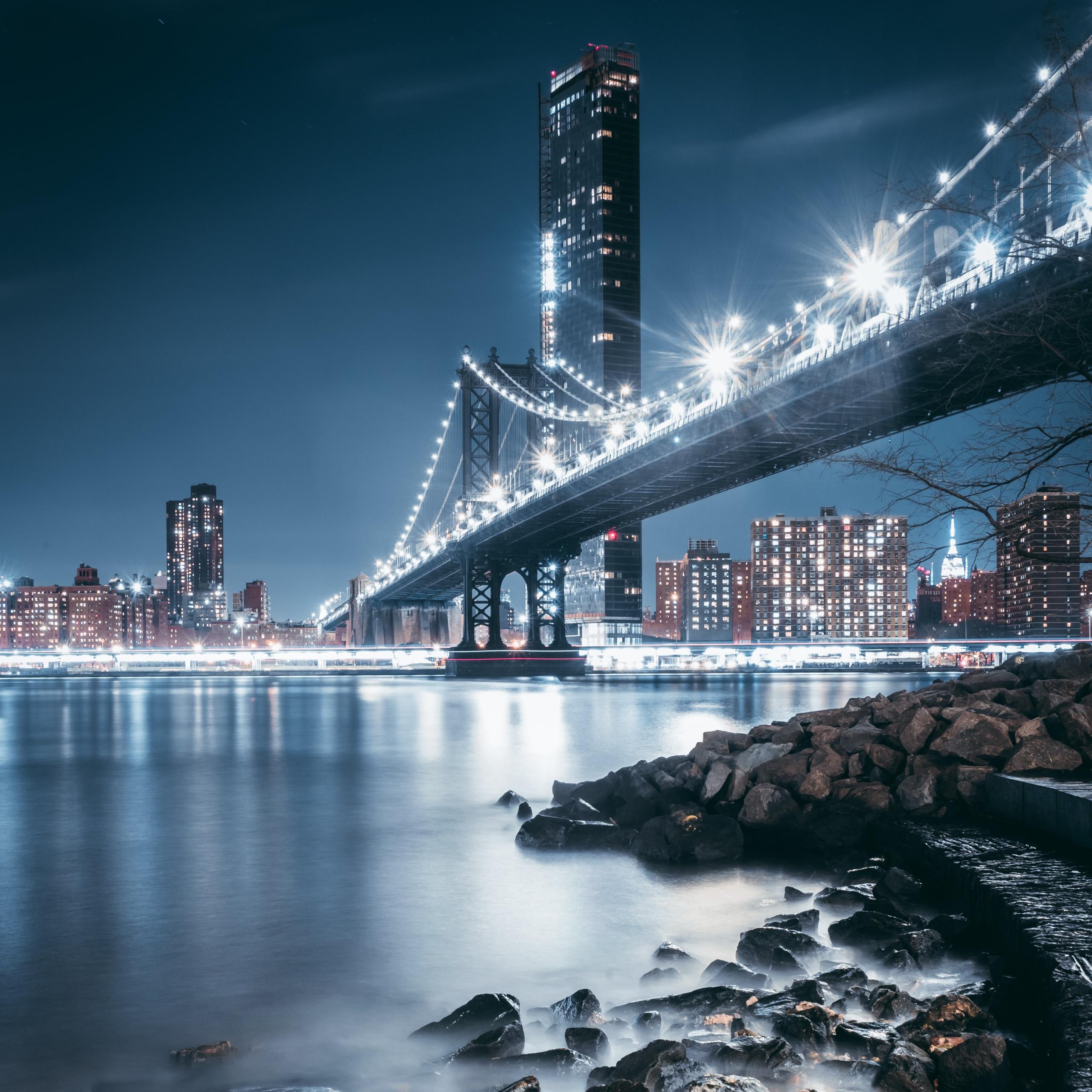 4K Wallpaper George Washington Bridge, Night, City Lights