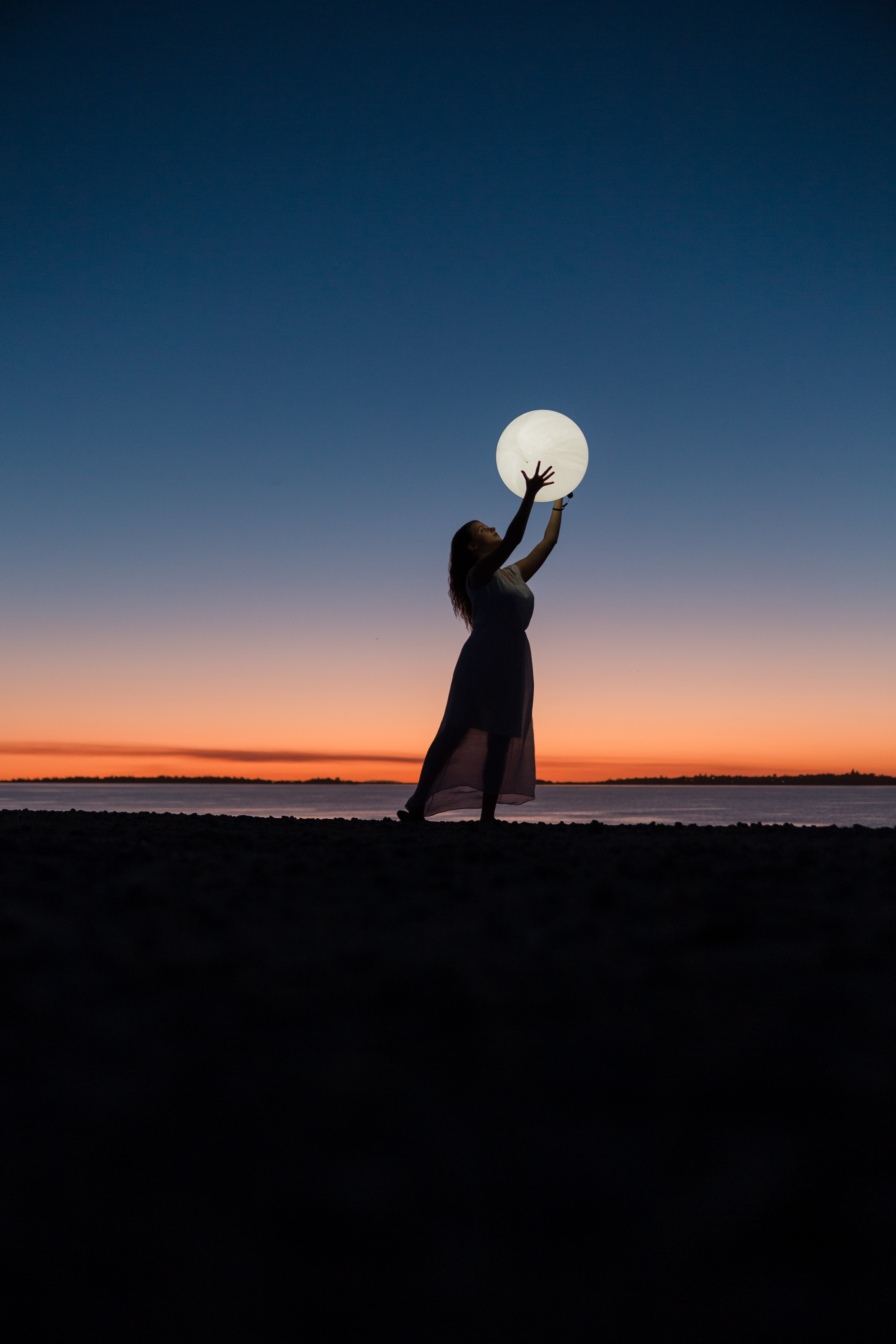 Girl 4k Wallpaper Woman Moon Beach Sunset Photography 257