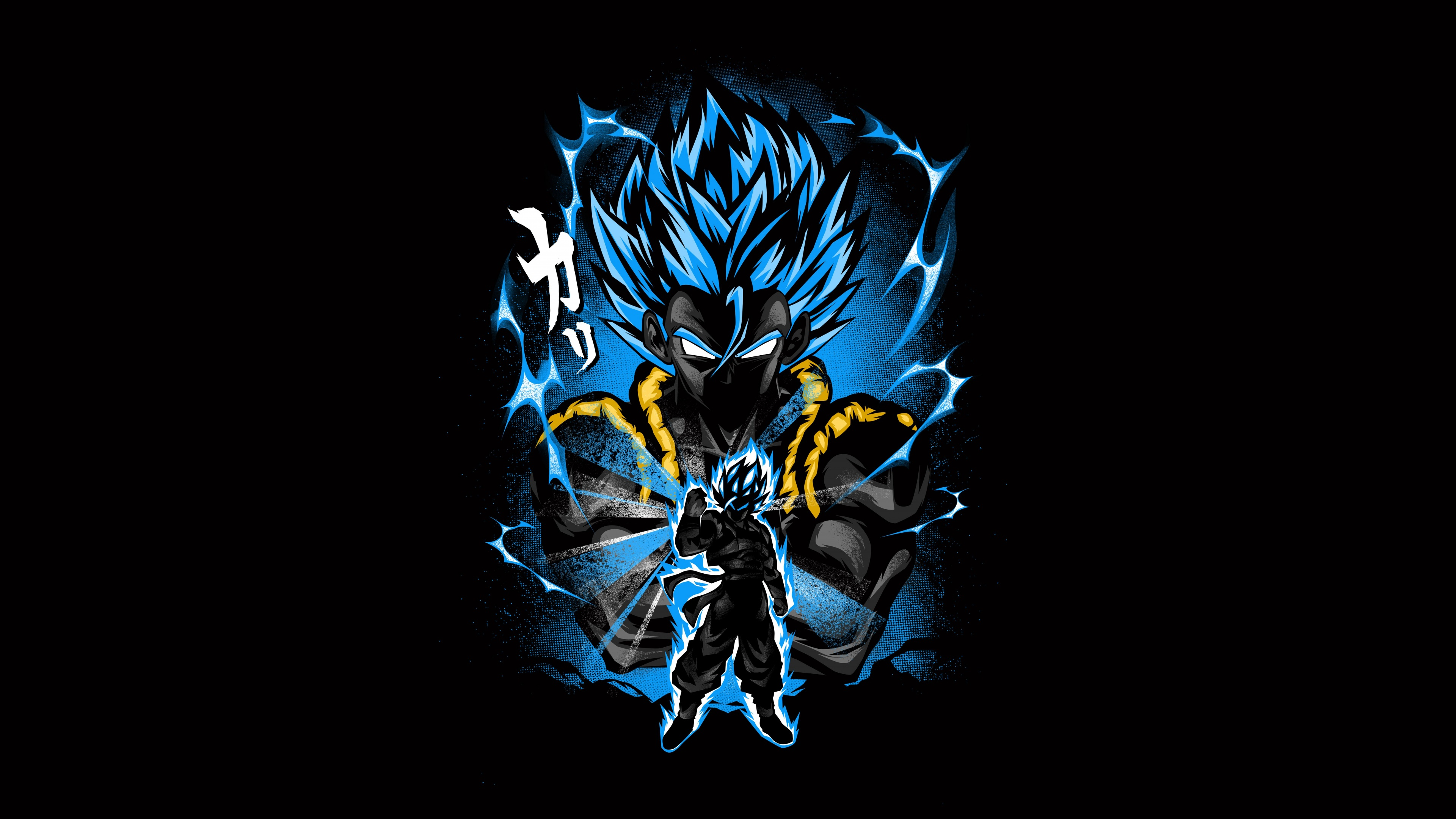 Goku 4k Wallpaper Fusion Attack Dragon Ball Z Anime Series Black Background Amoled 5k Graphics Cgi 1920