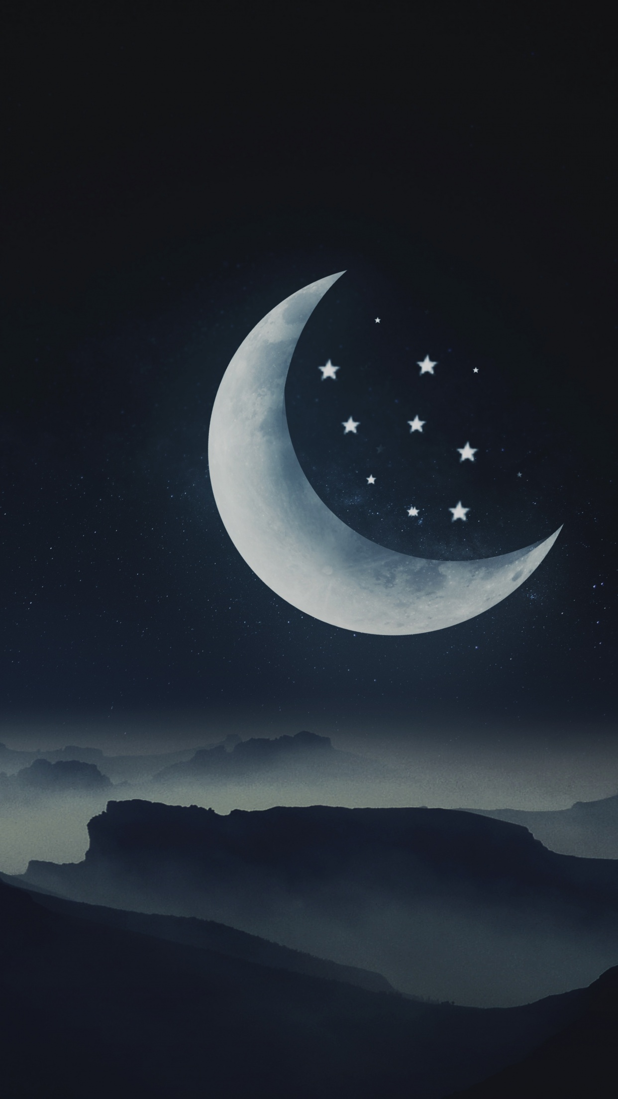 Half moon Wallpaper 21K, Stars, Mountains, Night, Cold, Aesthetic ...