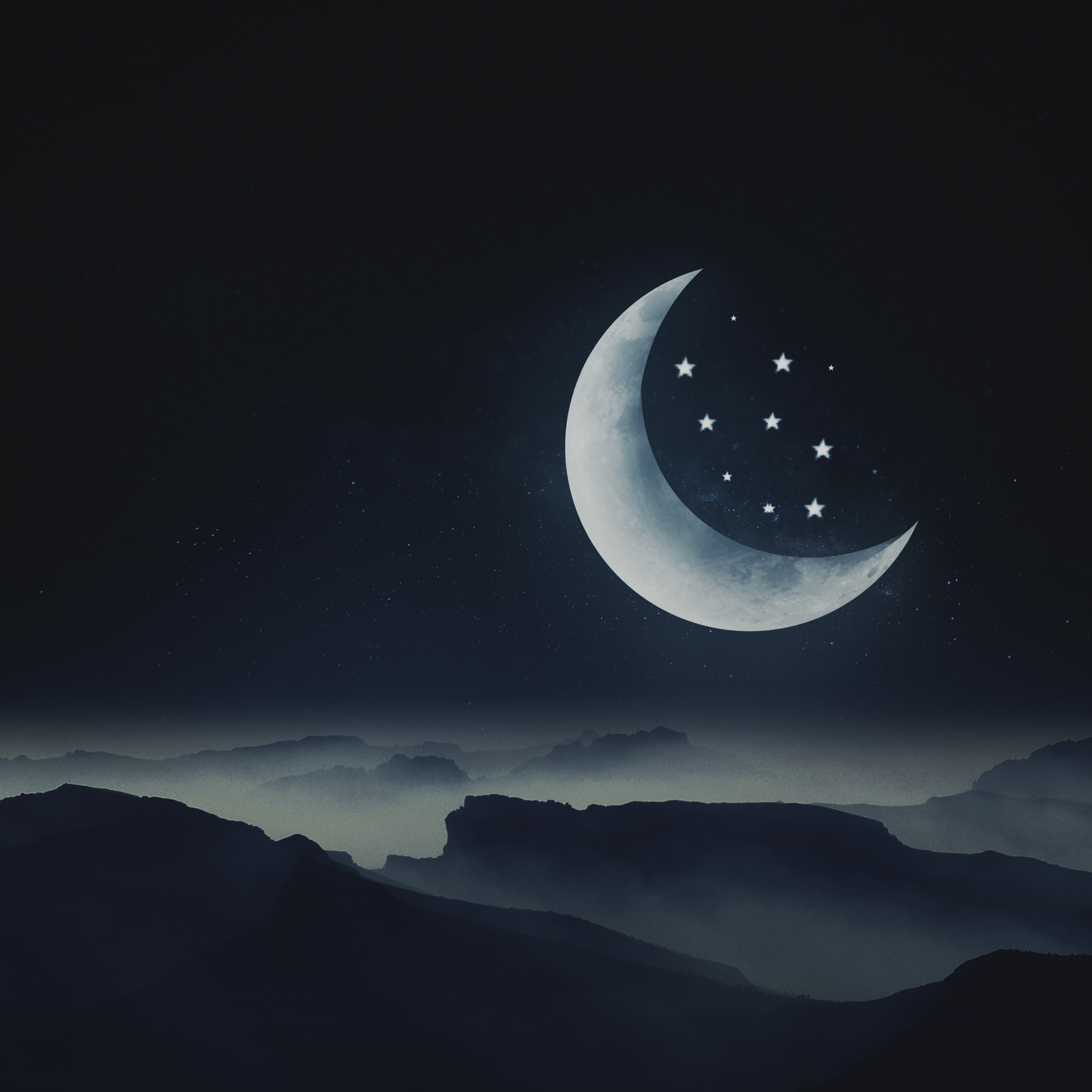 Half moon Wallpaper 20K, Stars, Mountains, Night, Cold, Aesthetic ...