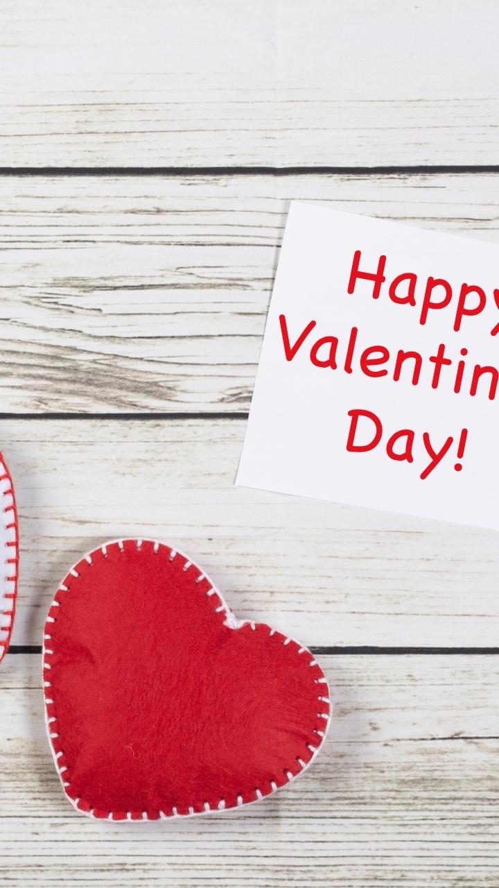 Happy Valentine's Day 4K Wallpaper, Red Hearts, Wooden ...