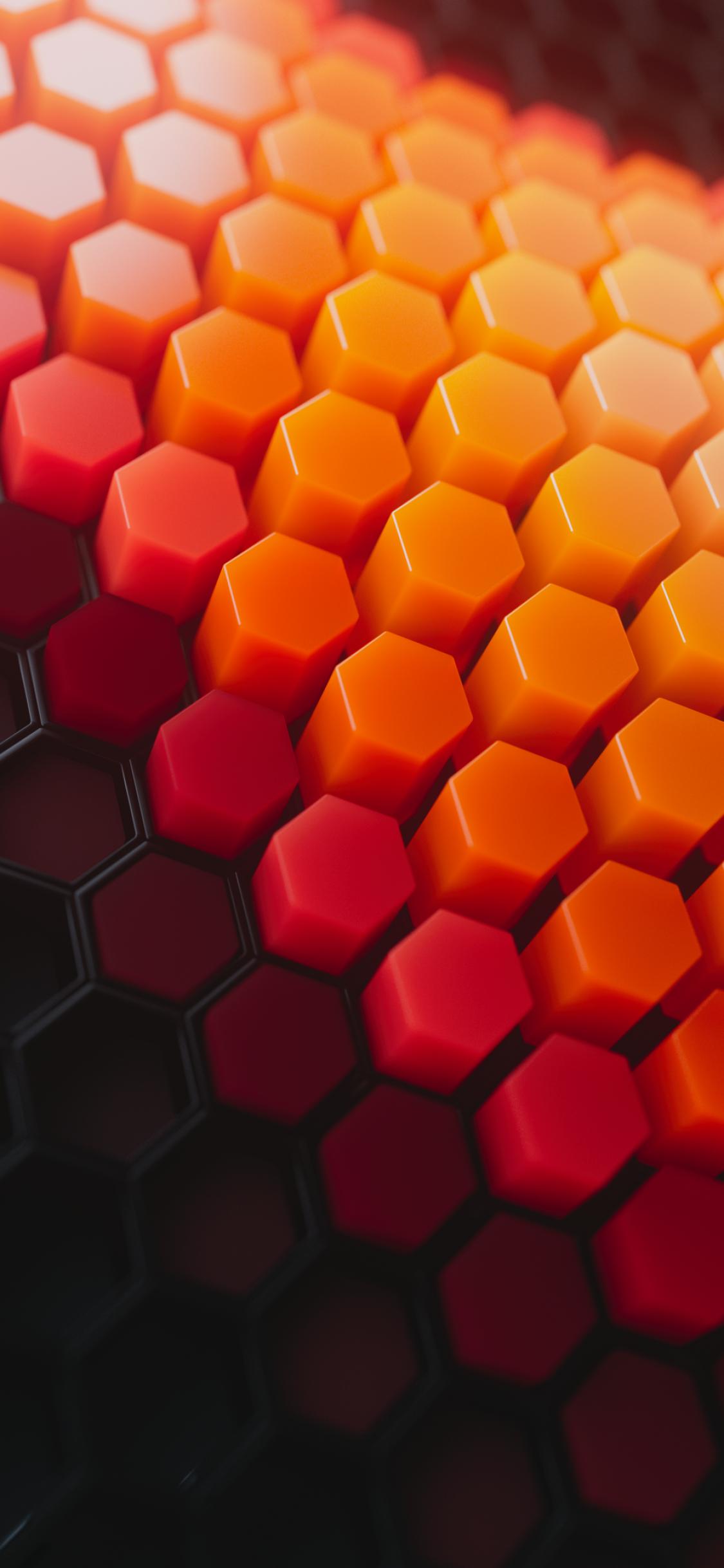 Hexagons 4K Wallpaper Patterns Orange background Orange
