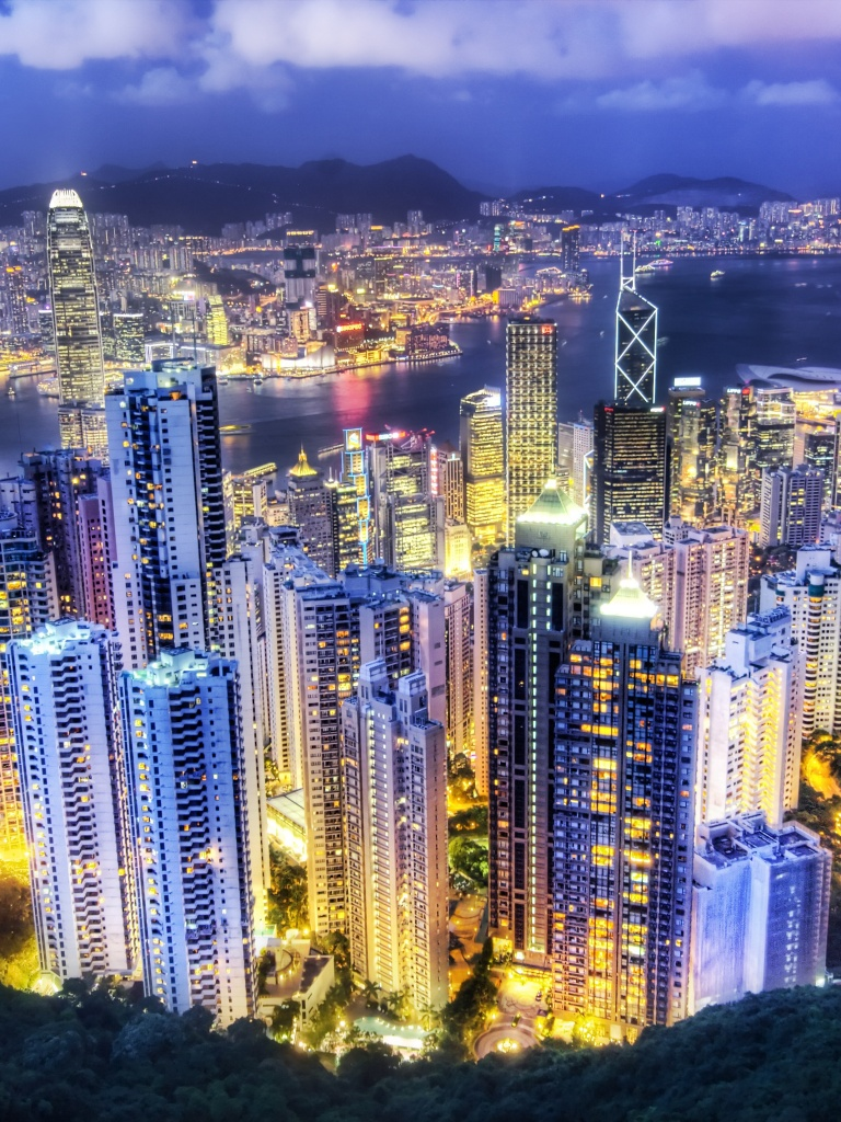 Hong Kong City 4K Wallpaper, Aerial view, Night lights ...