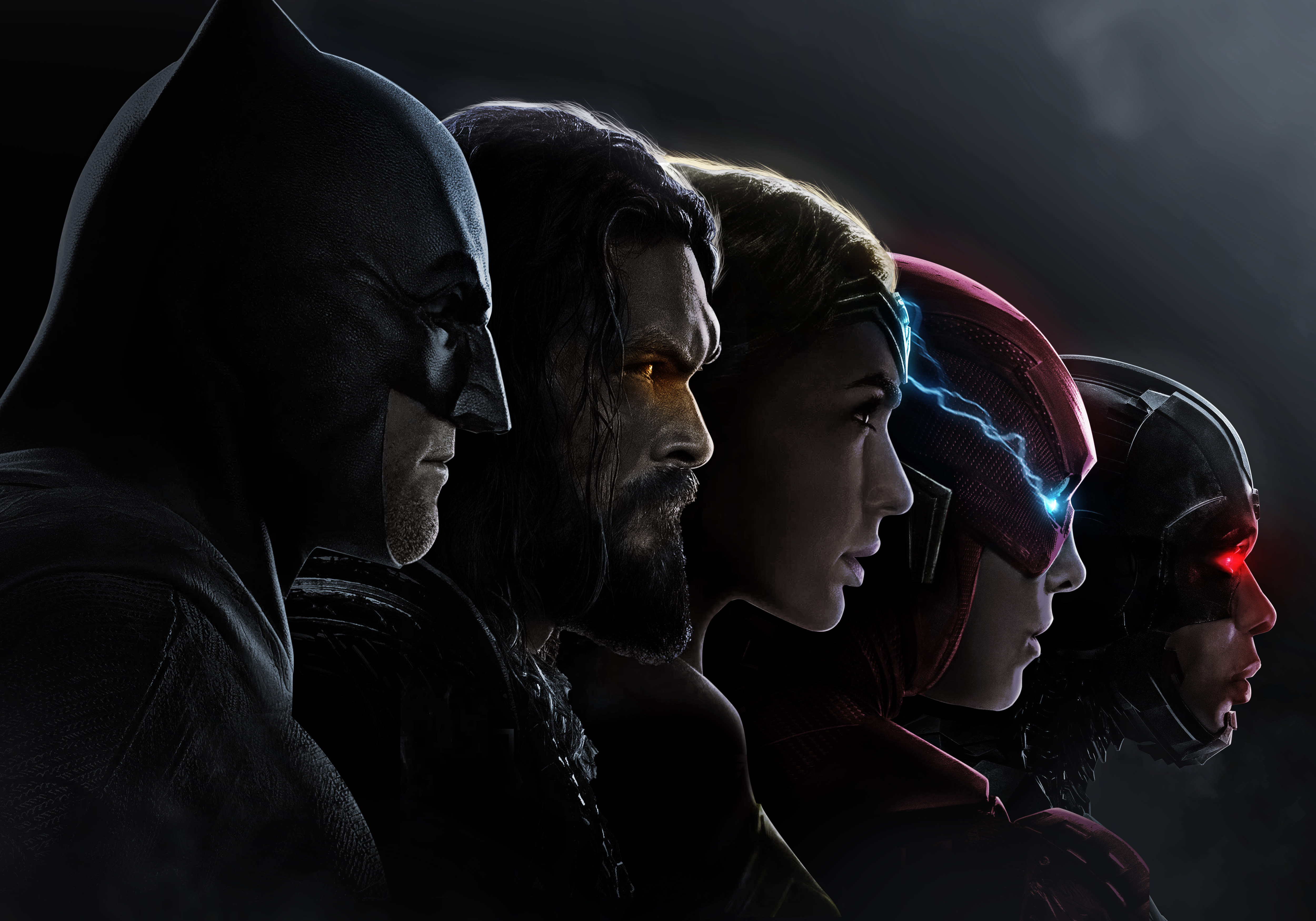 Justice League 4k Wallpaper Batman Aquaman Wonder Woman The Flash Cyborg Dc Comics Black Dark 1649