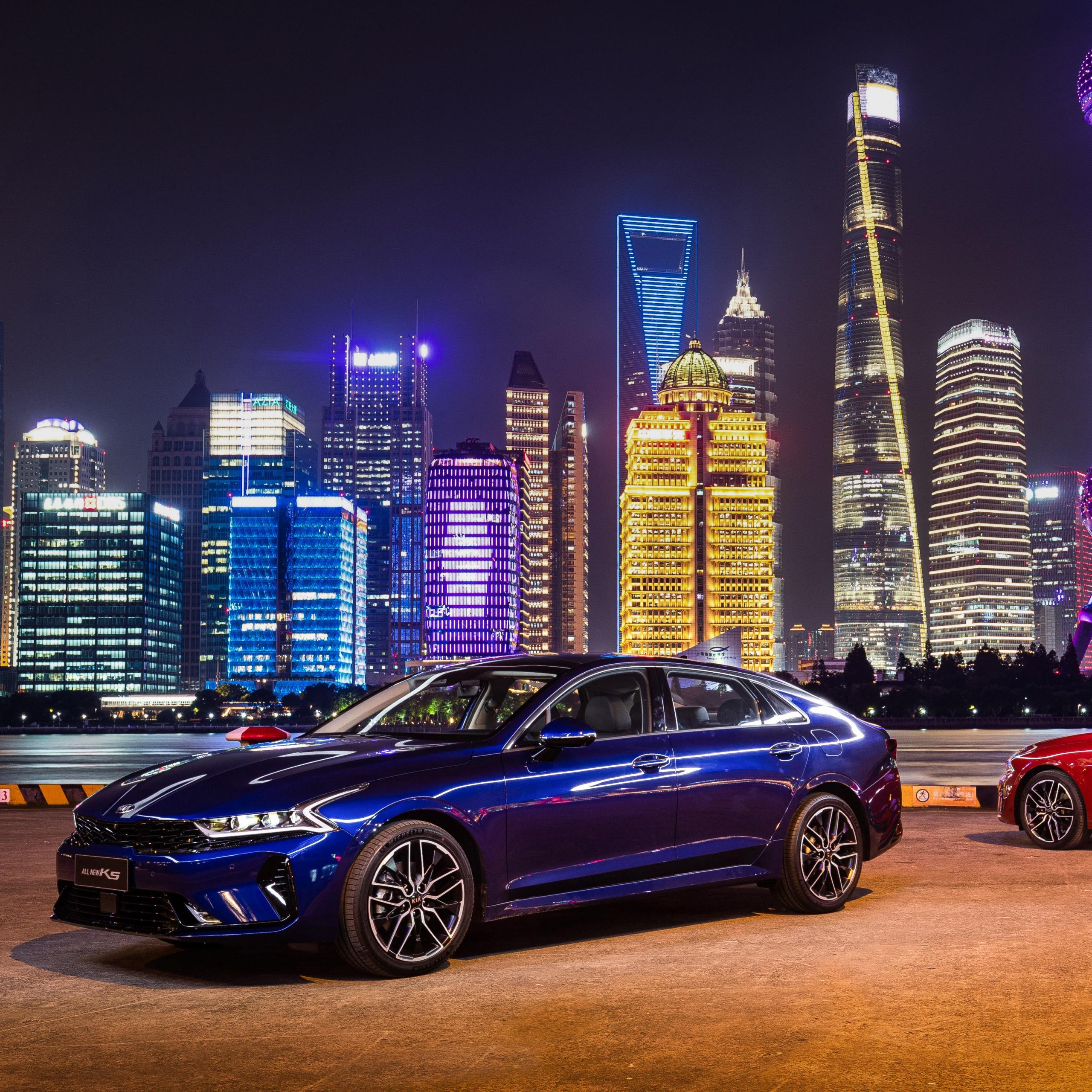 Kia K5 GT-Line 4K Wallpaper, Shanghai, Cityscape, Night
