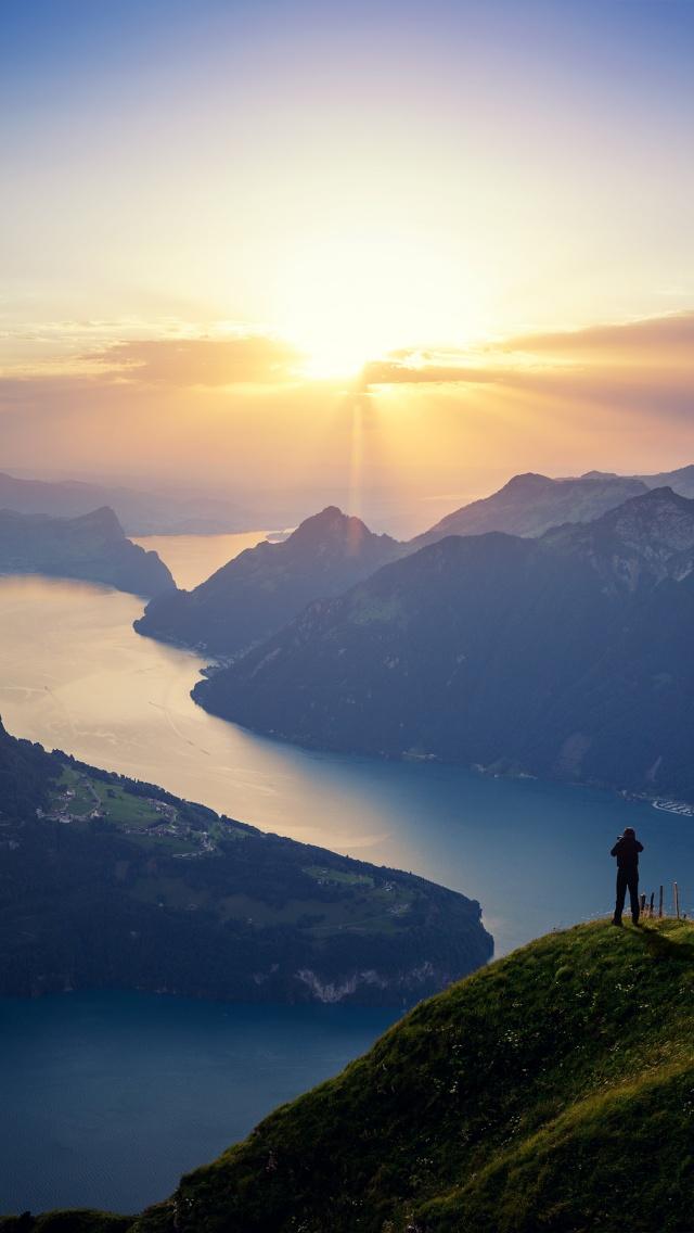 Lake Lucerne 4K Wallpaper, Landscape, Mountains, Sunset