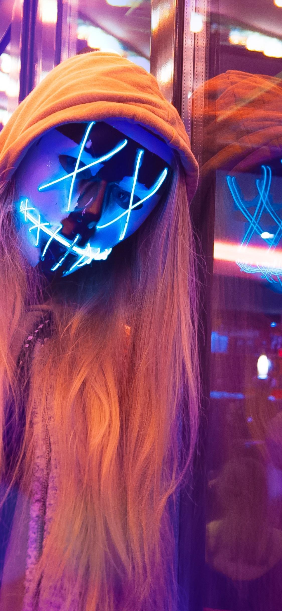 LED Mask 4K Wallpaper, Neon, Pink, Anonymous, Woman