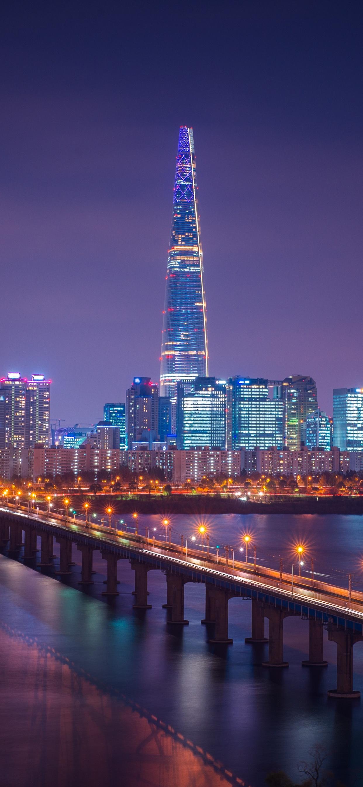 Lotte Tower 4k Wallpaper Seoul Cityscape Bridge Night City Lights South Korea 5k World 1315