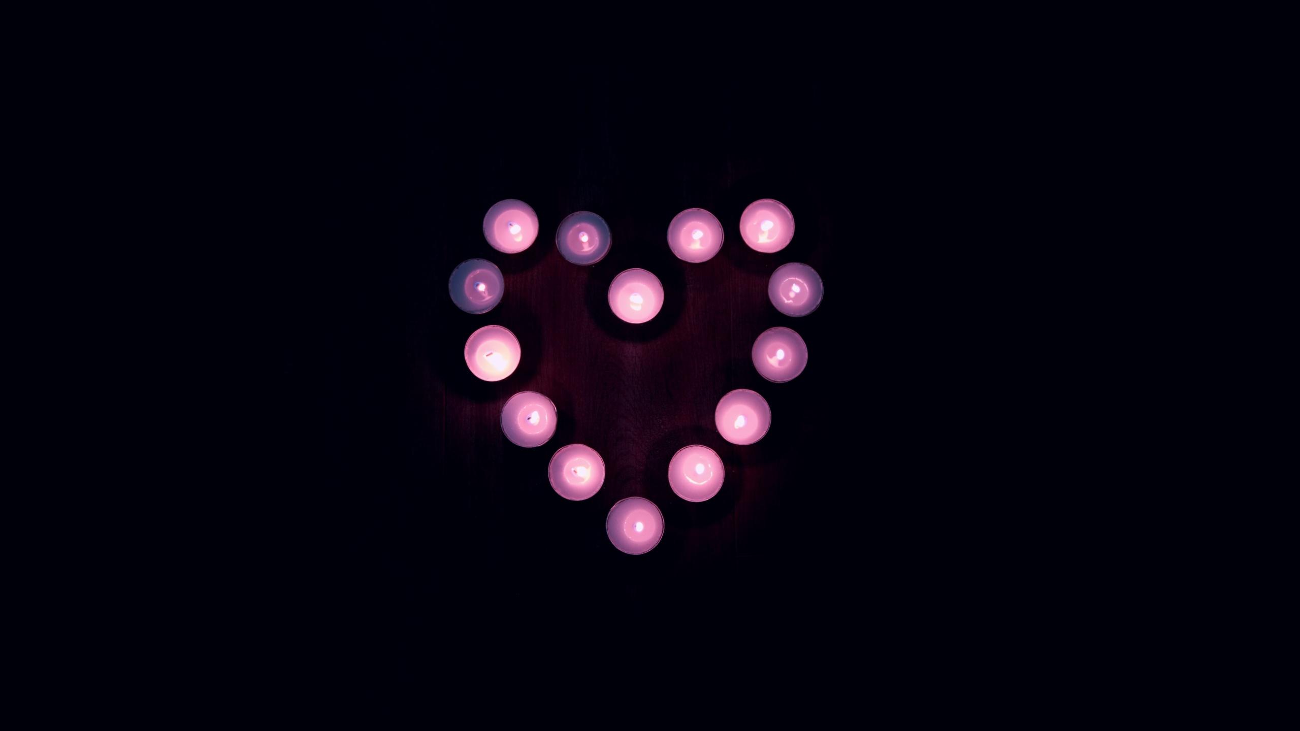 Love Heart 4k Wallpaper Candle Lights Black Background Pink Heart Tea Light 5k Black Dark 2382